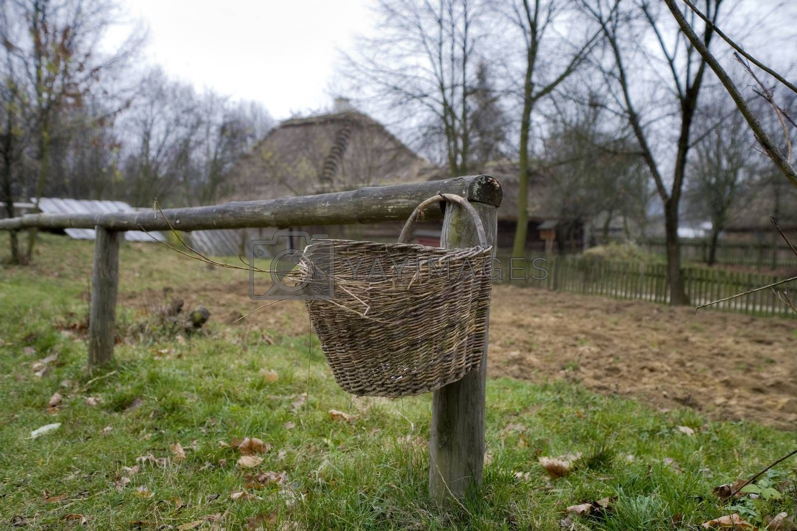 Royalty free image of  basket hanging on a wooden fence in a village in Podlasie, Pola by Lukrecja