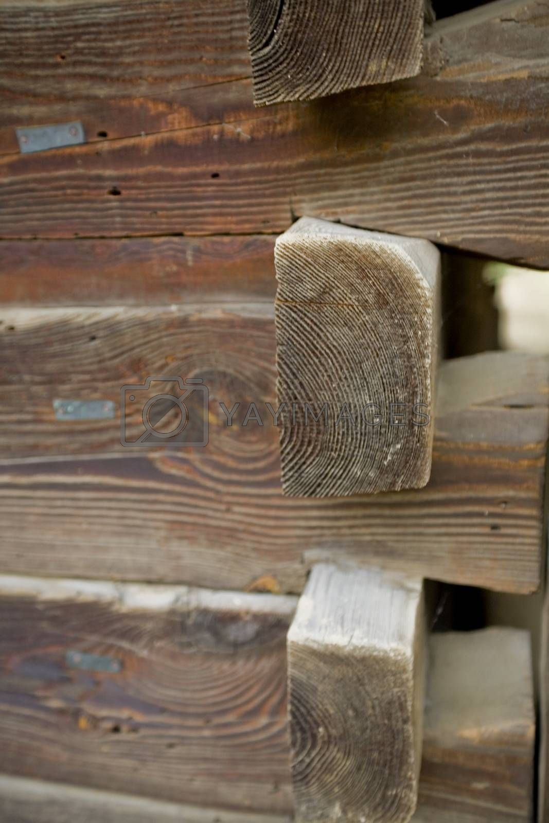 Royalty free image of urface-mounted wooden structure of a hut without nails in Polish by Lukrecja