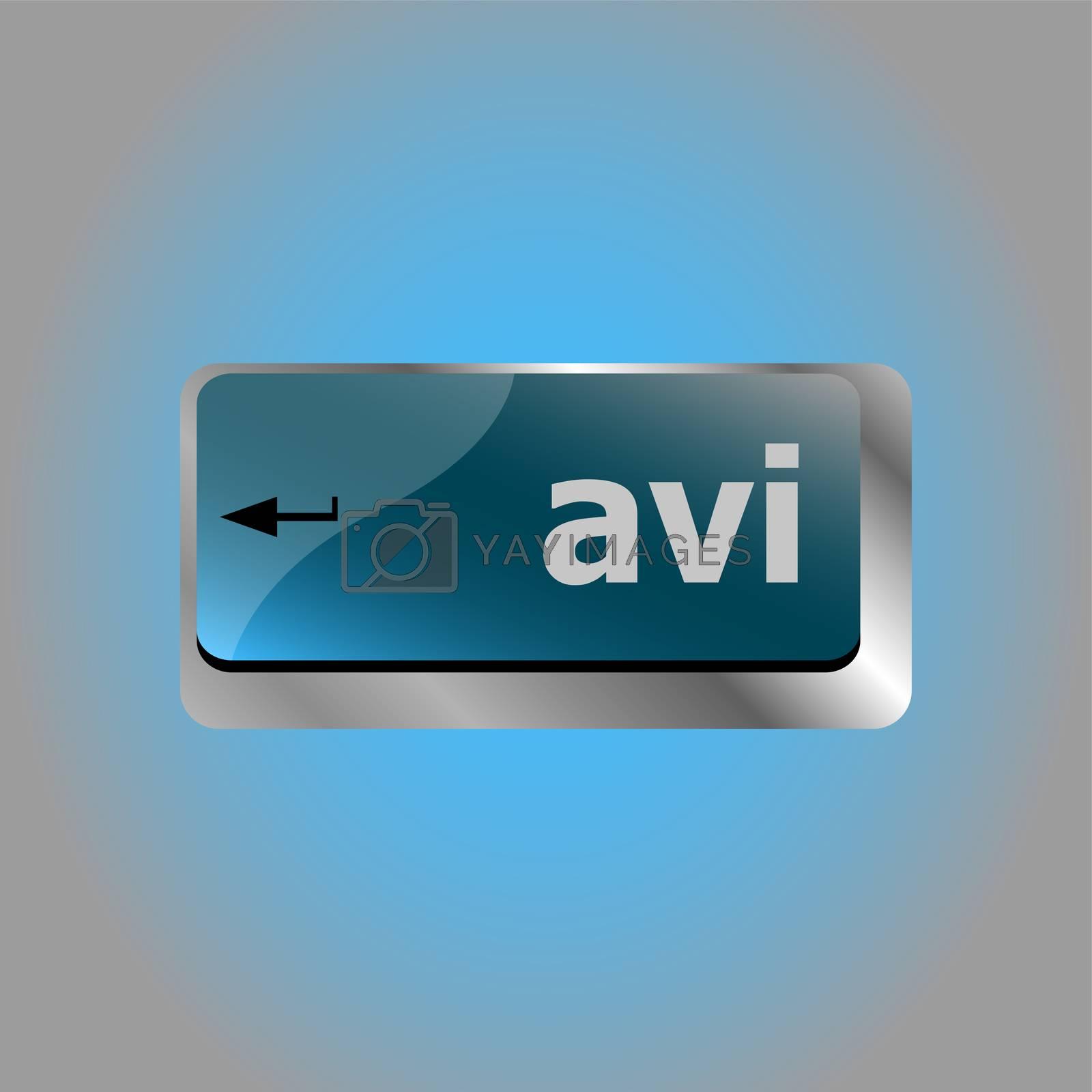 Closeup of avi key in a modern keyboard keys button