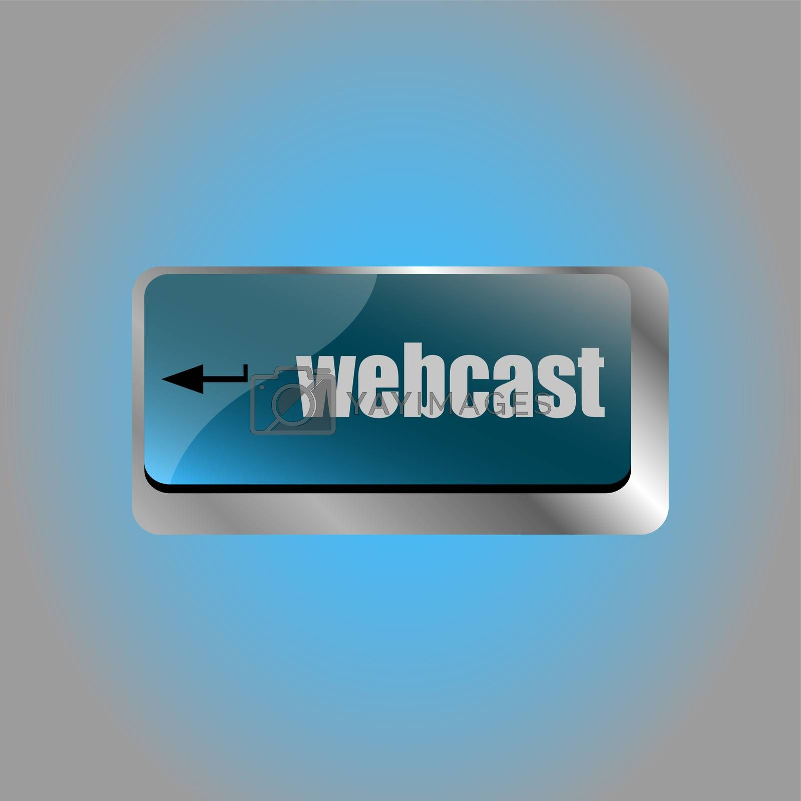 keyboard key with webcast web button. laptop icon