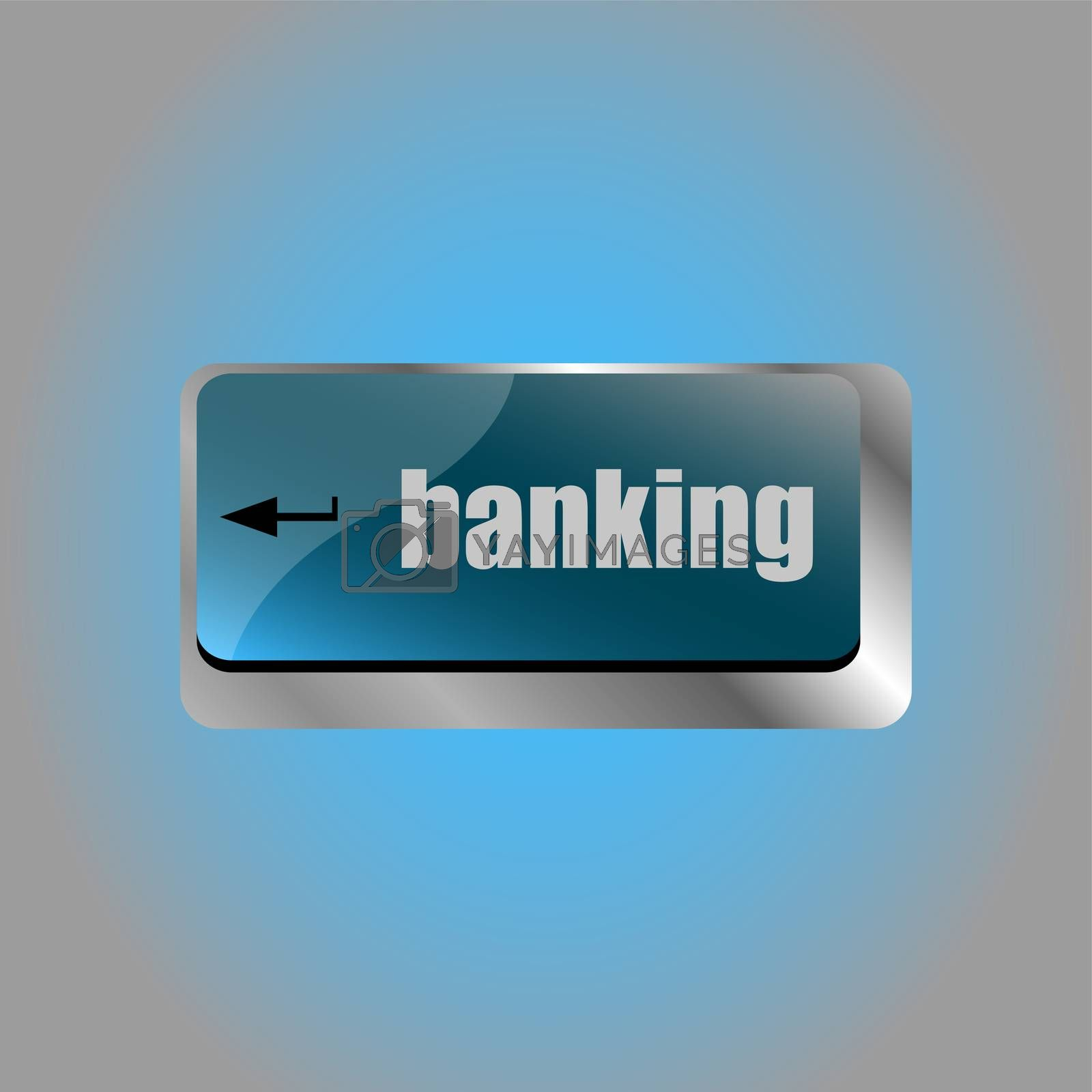 Keyboard key with enter button banking. business concept
