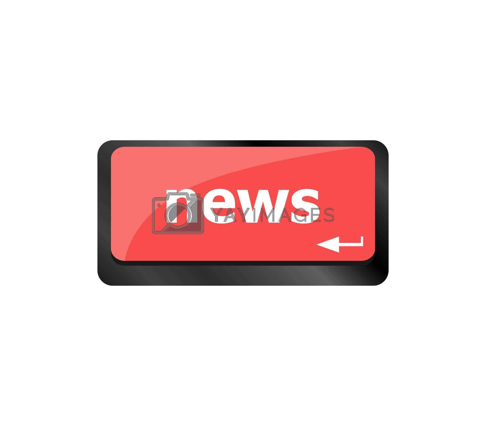 News text on a button computer keyboard keys