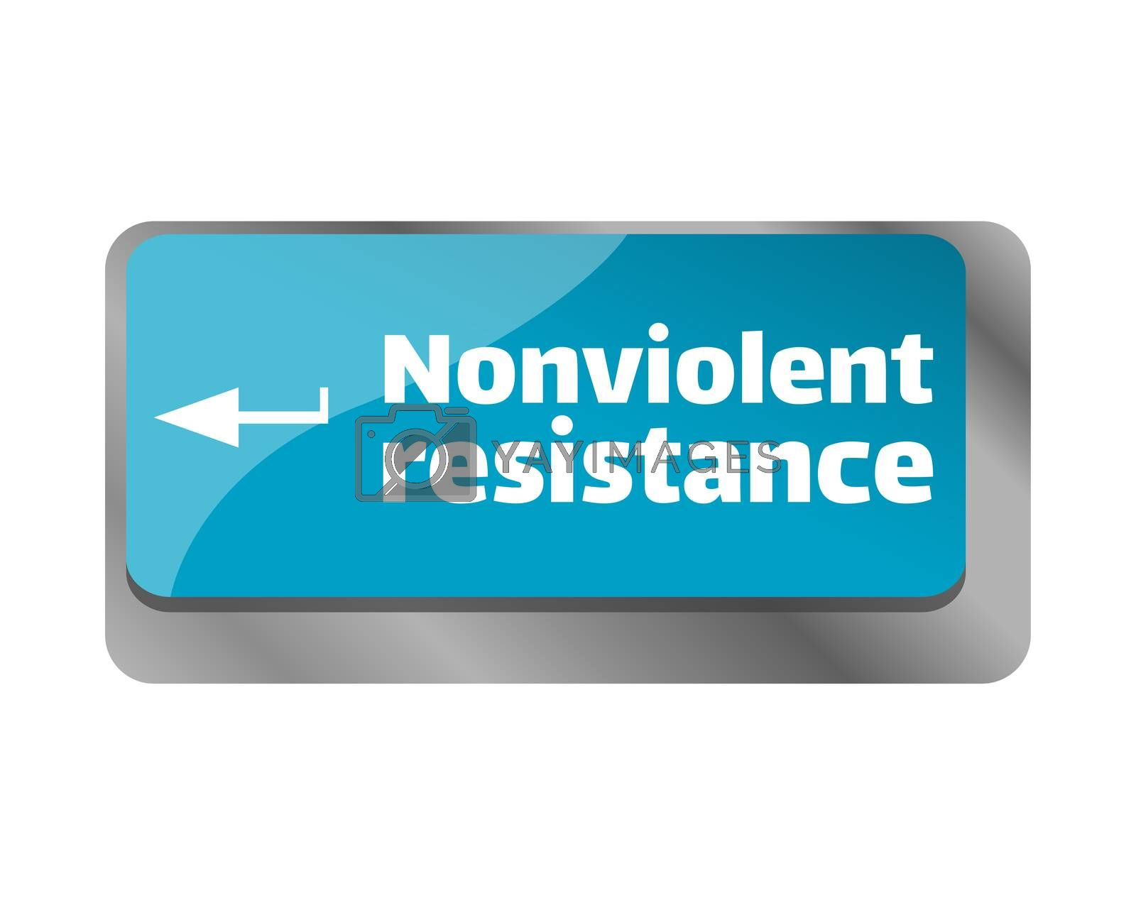 Nonviolent resistance . Close up of keyboard, enter computer key.