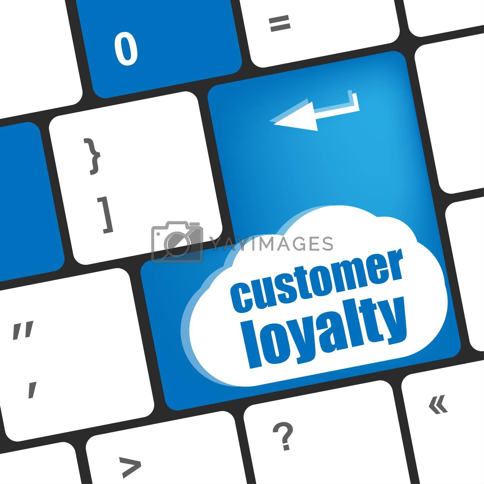 button keypad key with customer loyalty words