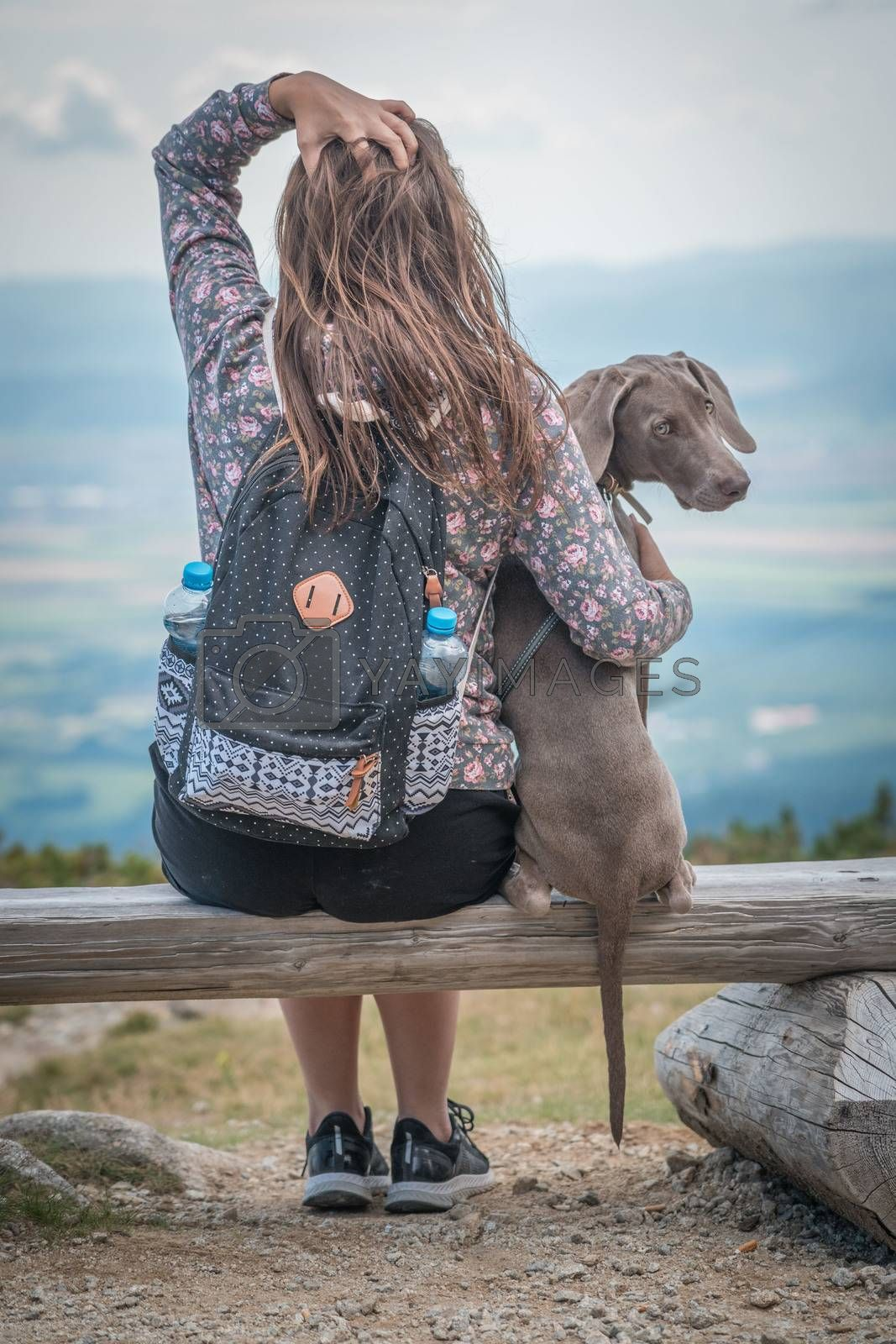 Royalty free image of Young attractive woman with her dog enjoying the view from a bench in the mountains. Friendship with pets concept. Dog is sitting next to her. by petrsvoboda91