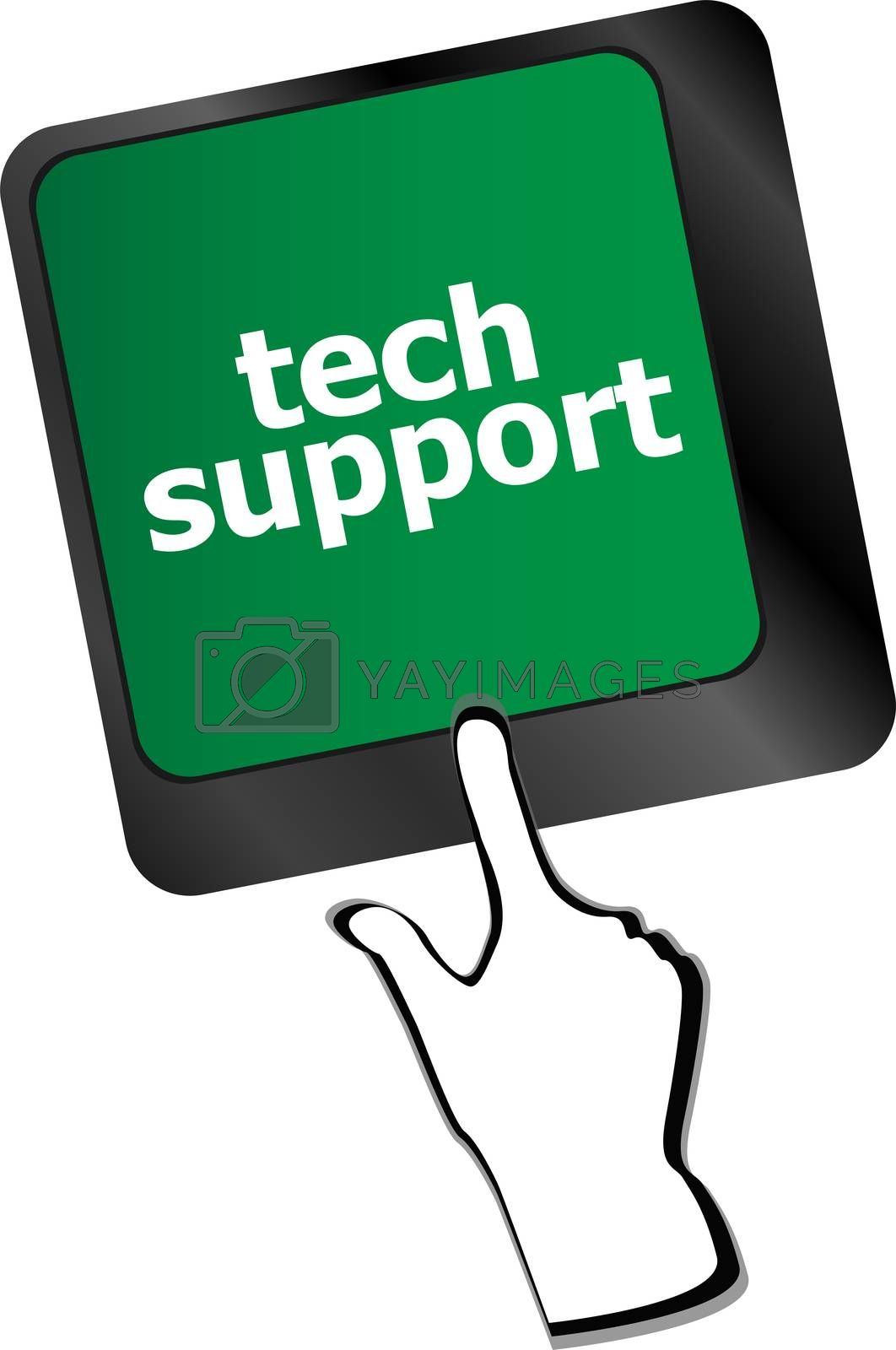 Personal computer keyboard with key tech support Marketing concept: words organic marketing on digital screen vector illustration
