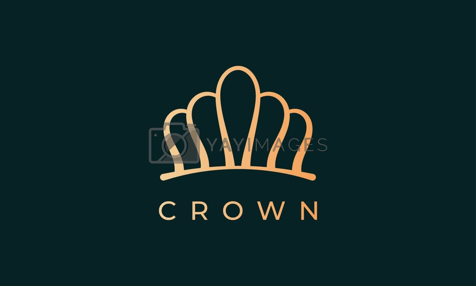 luxury gold kingdom crown logo represents king or queen with simple and modern line art style