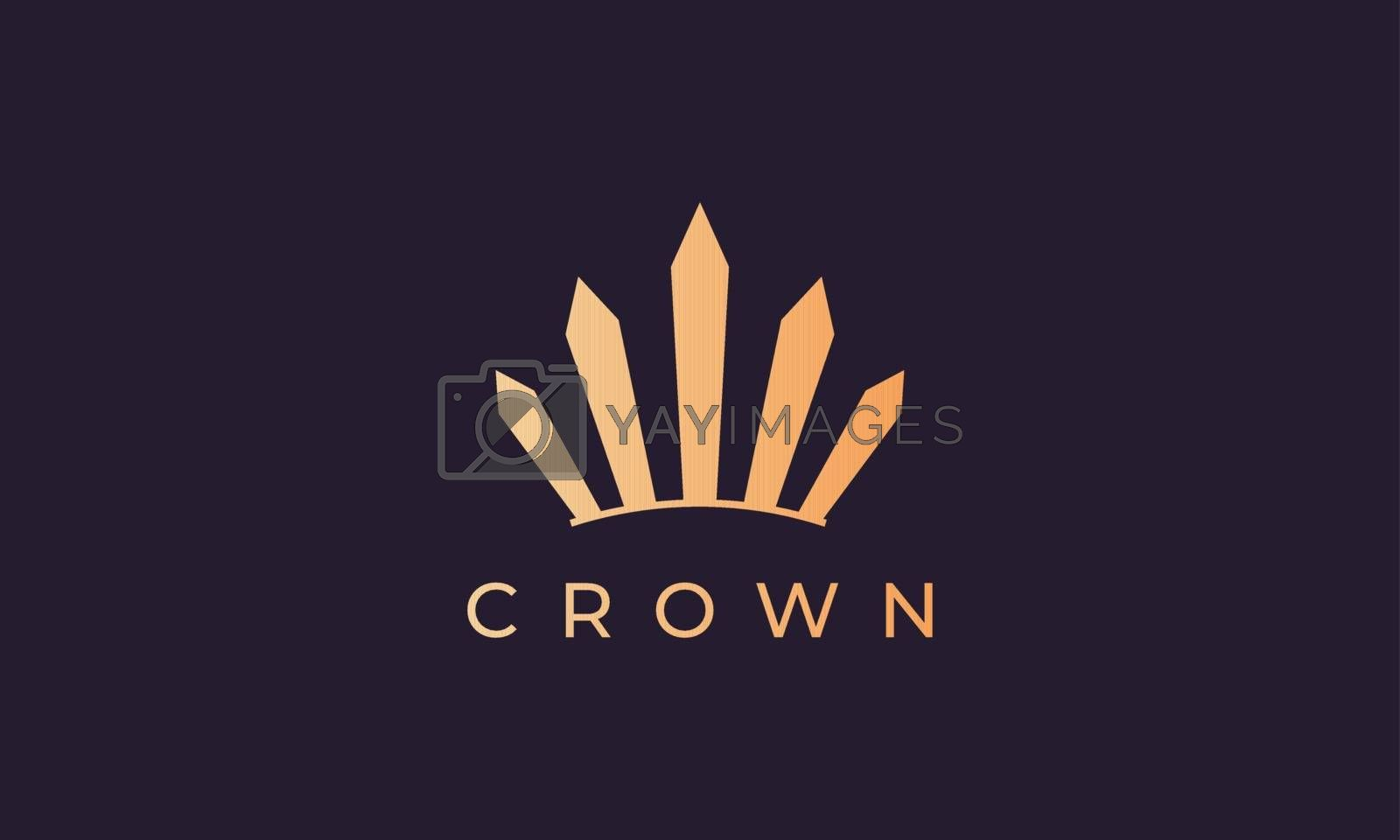 royal crown logo with simple line art style and luxury gold color