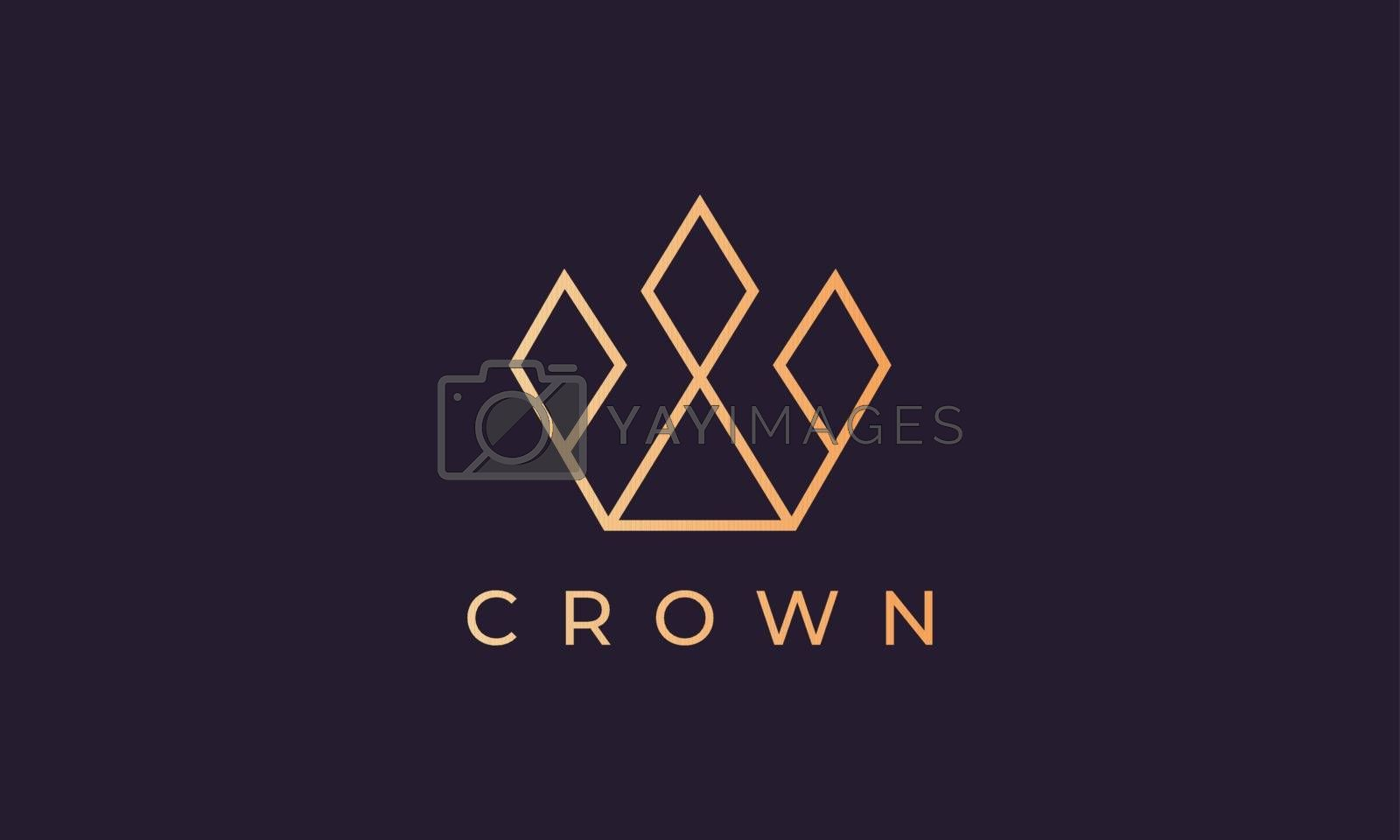 royal crown logo with minimalist line art style and luxury gold color