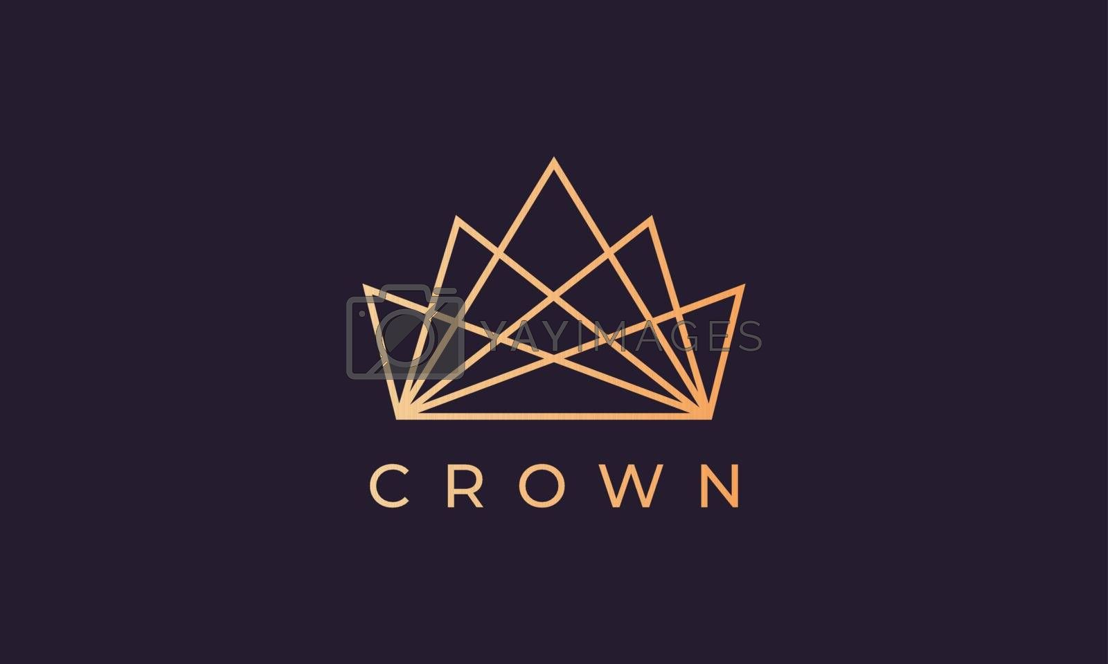 luxury gold kingdom crown logo with simple line art style