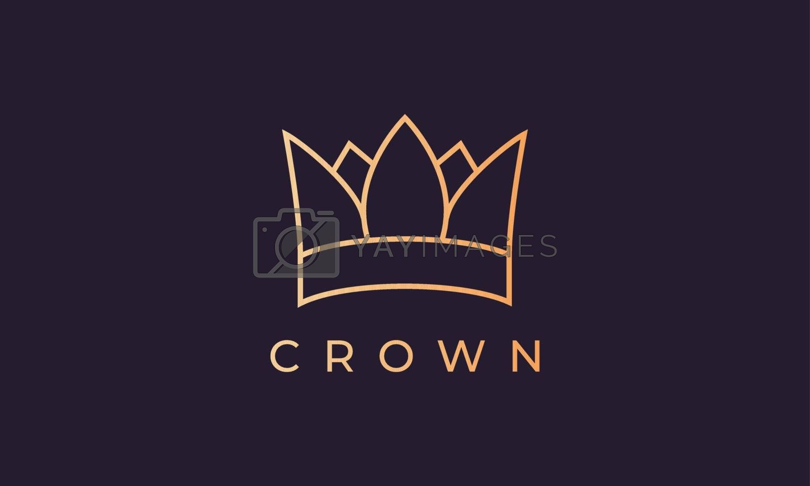 luxury gold kingdom crown logo with simple and modern line art style