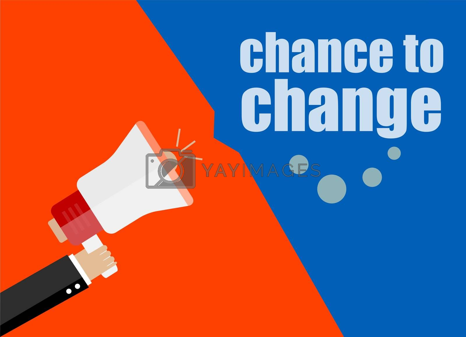 flat design business concept. chance to change. Digital marketing business man holding megaphone for website and promotion banners.
