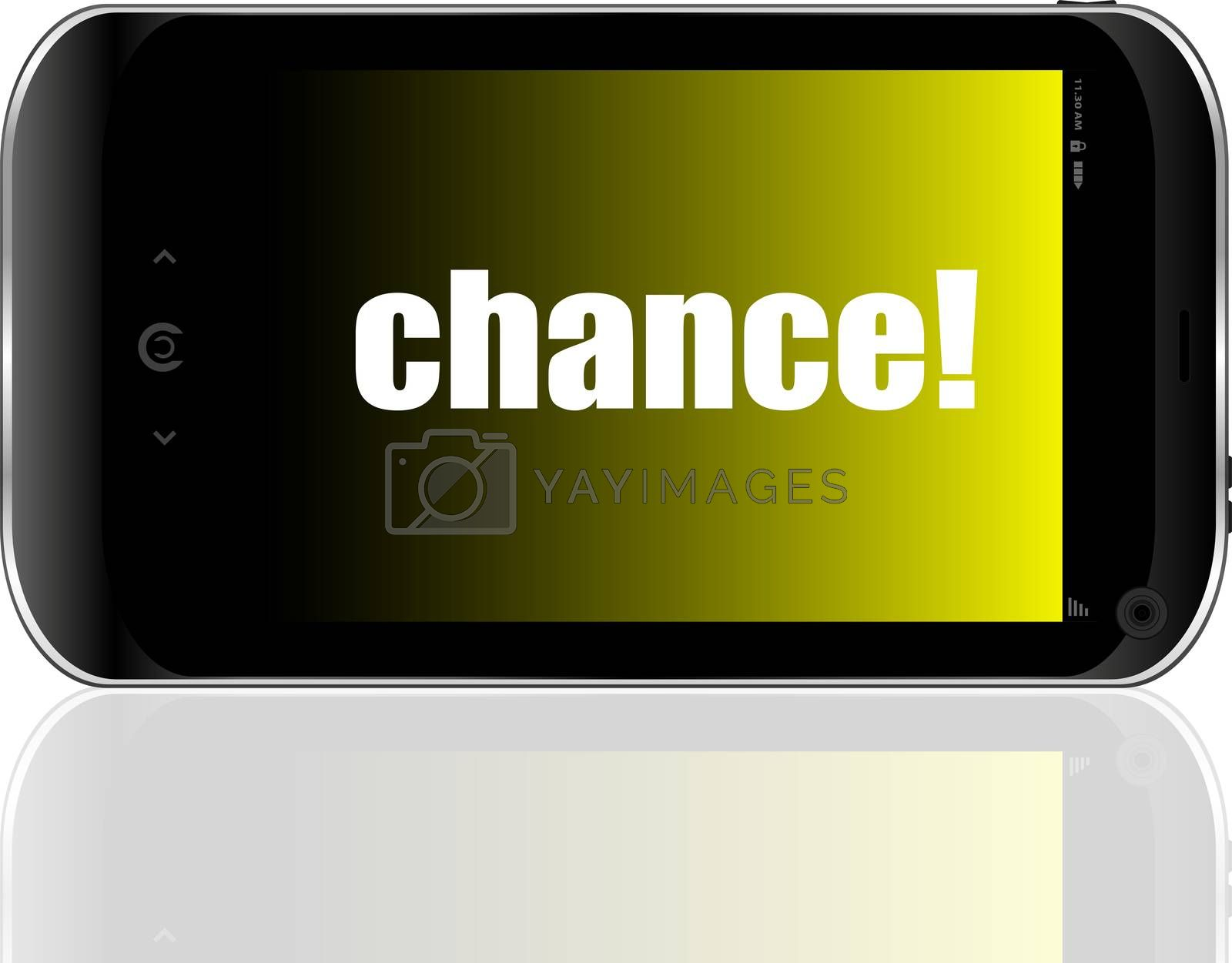 Text Chance. Business concept . Detailed modern smartphone