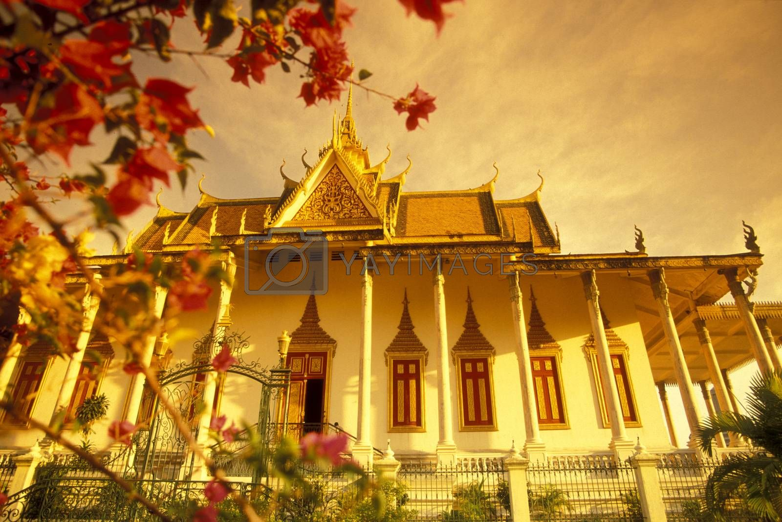 the architecture of the Royal Palace in the city of Phnom Penh of Cambodia.  Cambodia, Phnom Penh, February, 2001