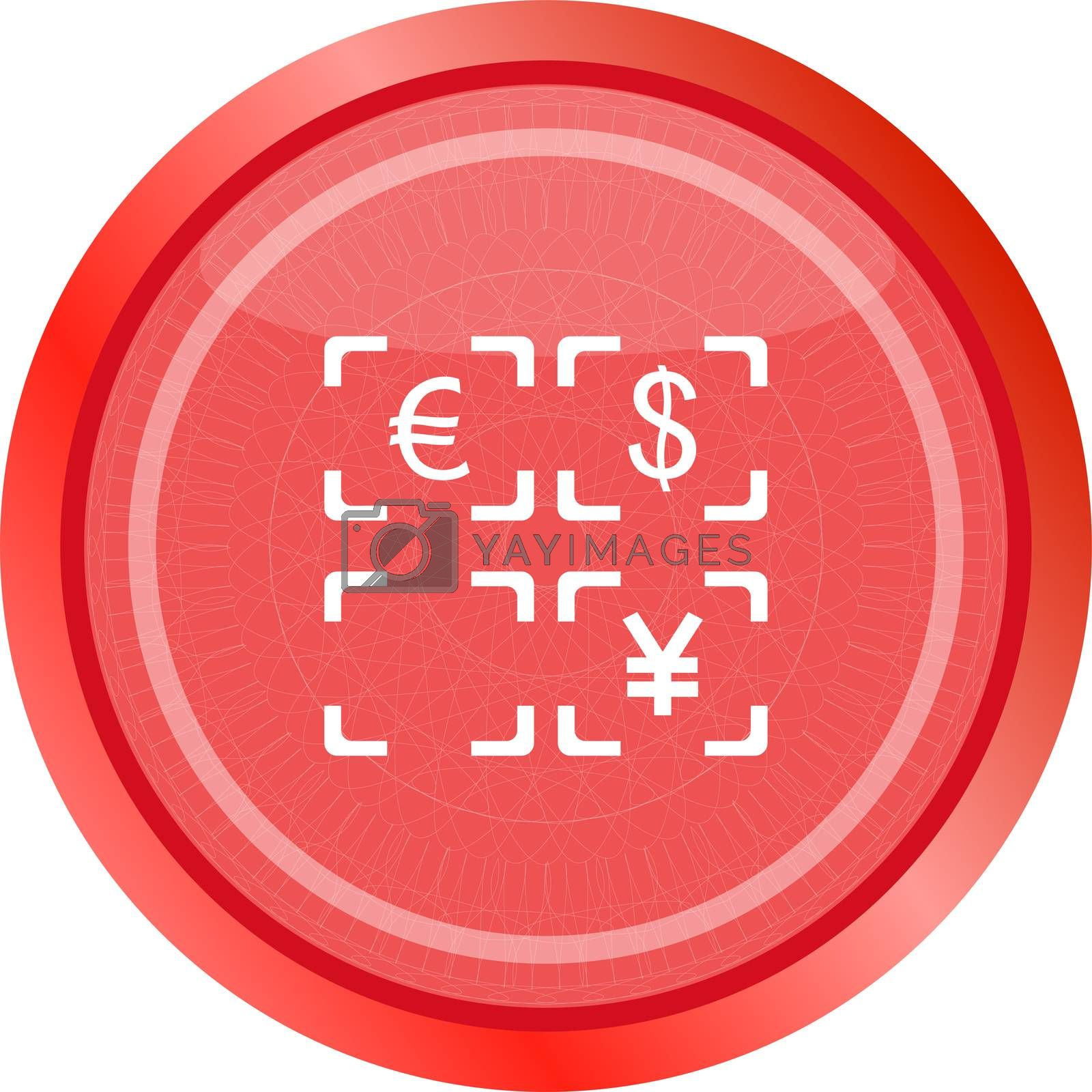 Currency exchange sign icon. Currency converter symbol. Money label. shiny button. Modern UI website button