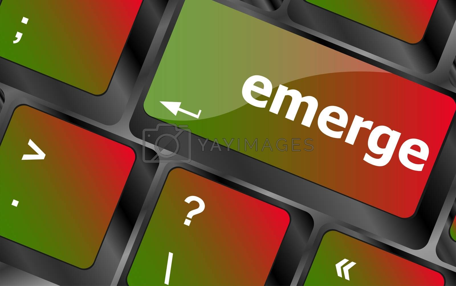 emerge word on keyboard key, notebook computer button