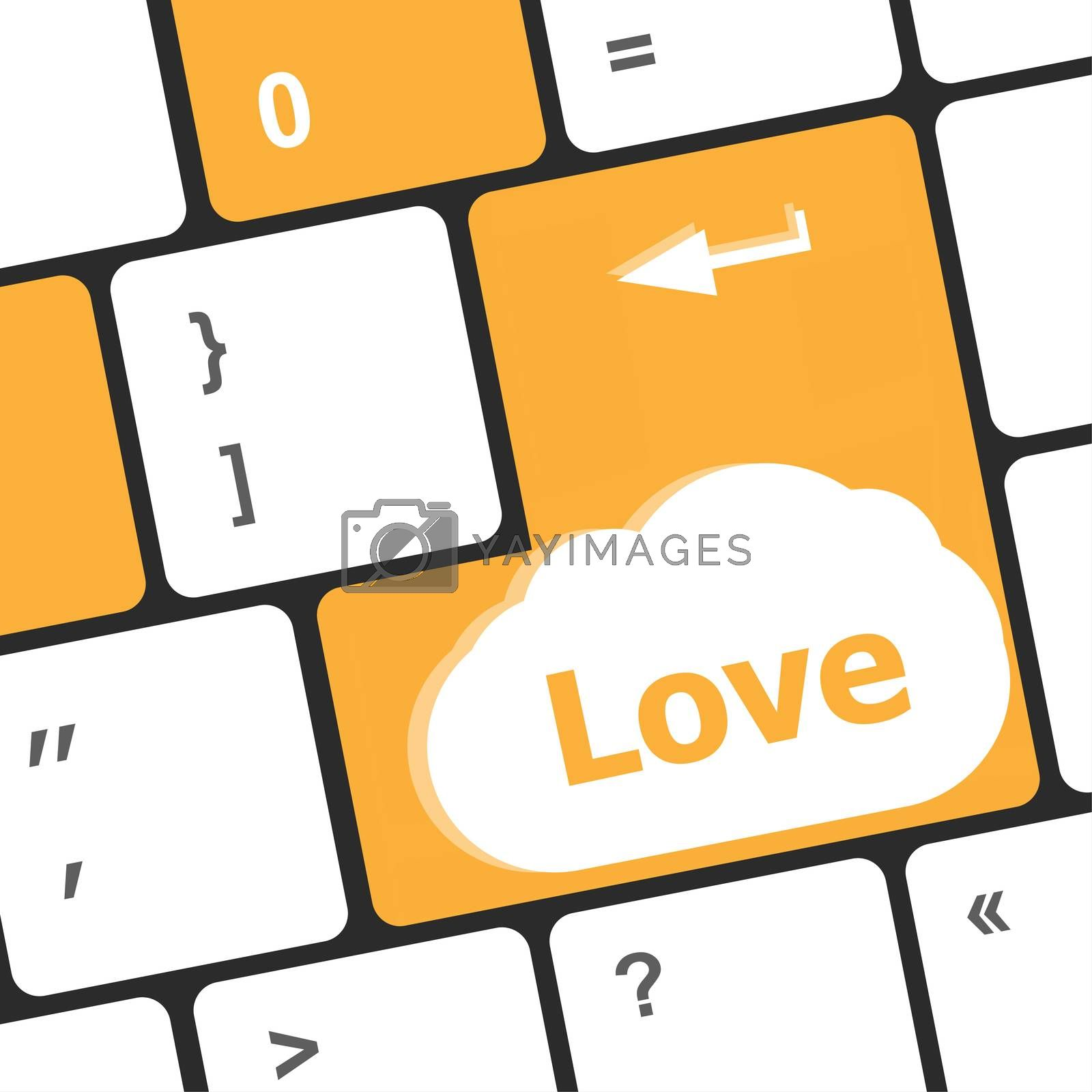 Modern keyboard key with love text. Social network concept