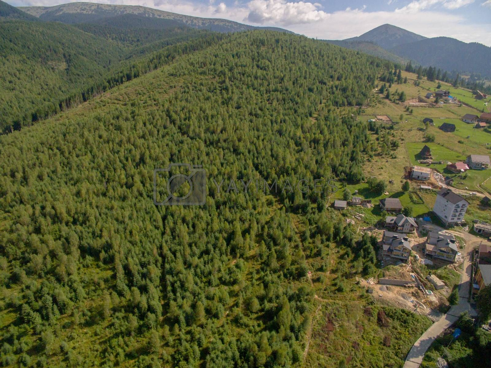 Aerial View of Great Green Ridge. Wooded Mountain Landscape