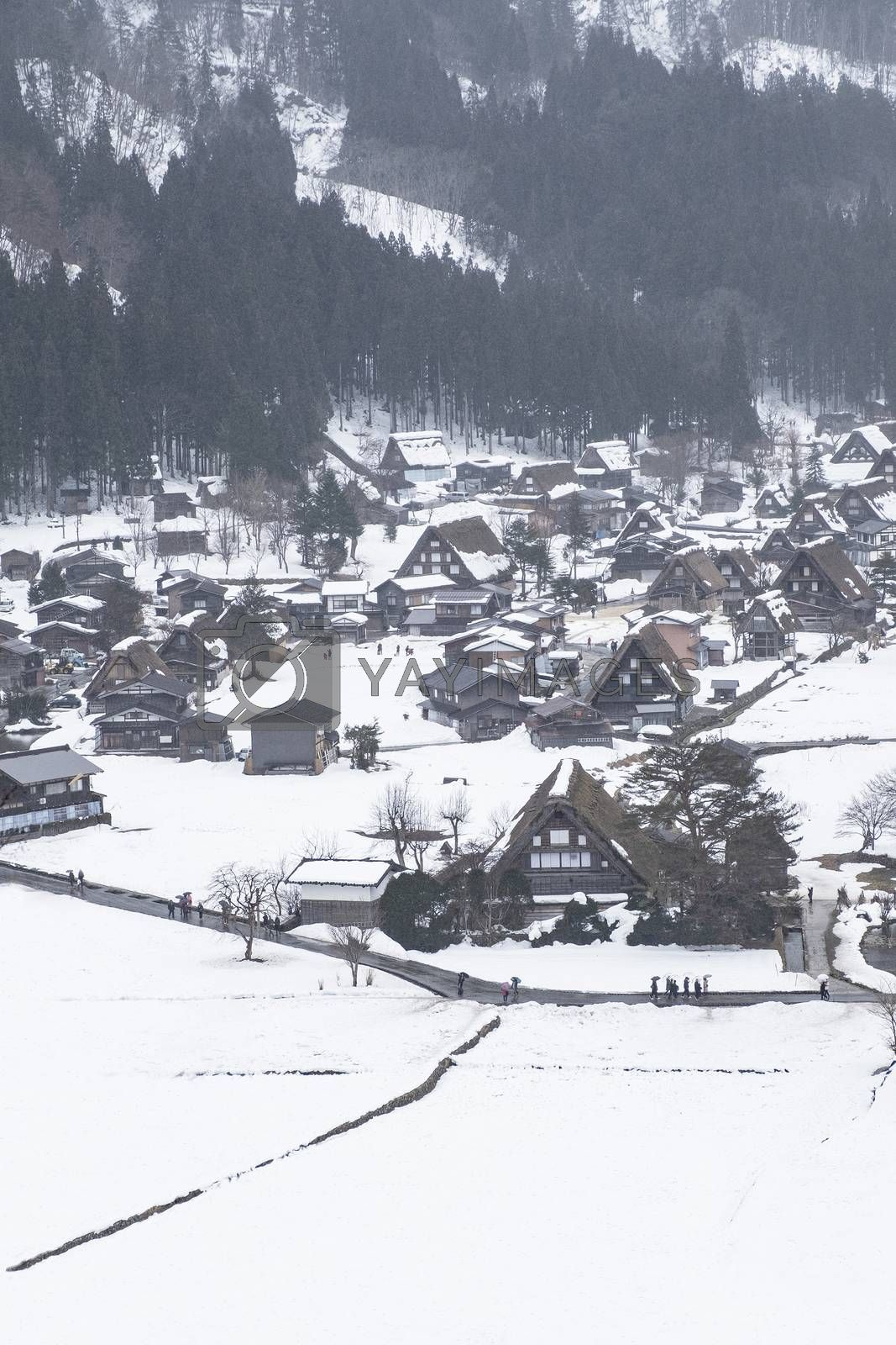 World Heritage Site Shirakawago Village in Winter, Japan