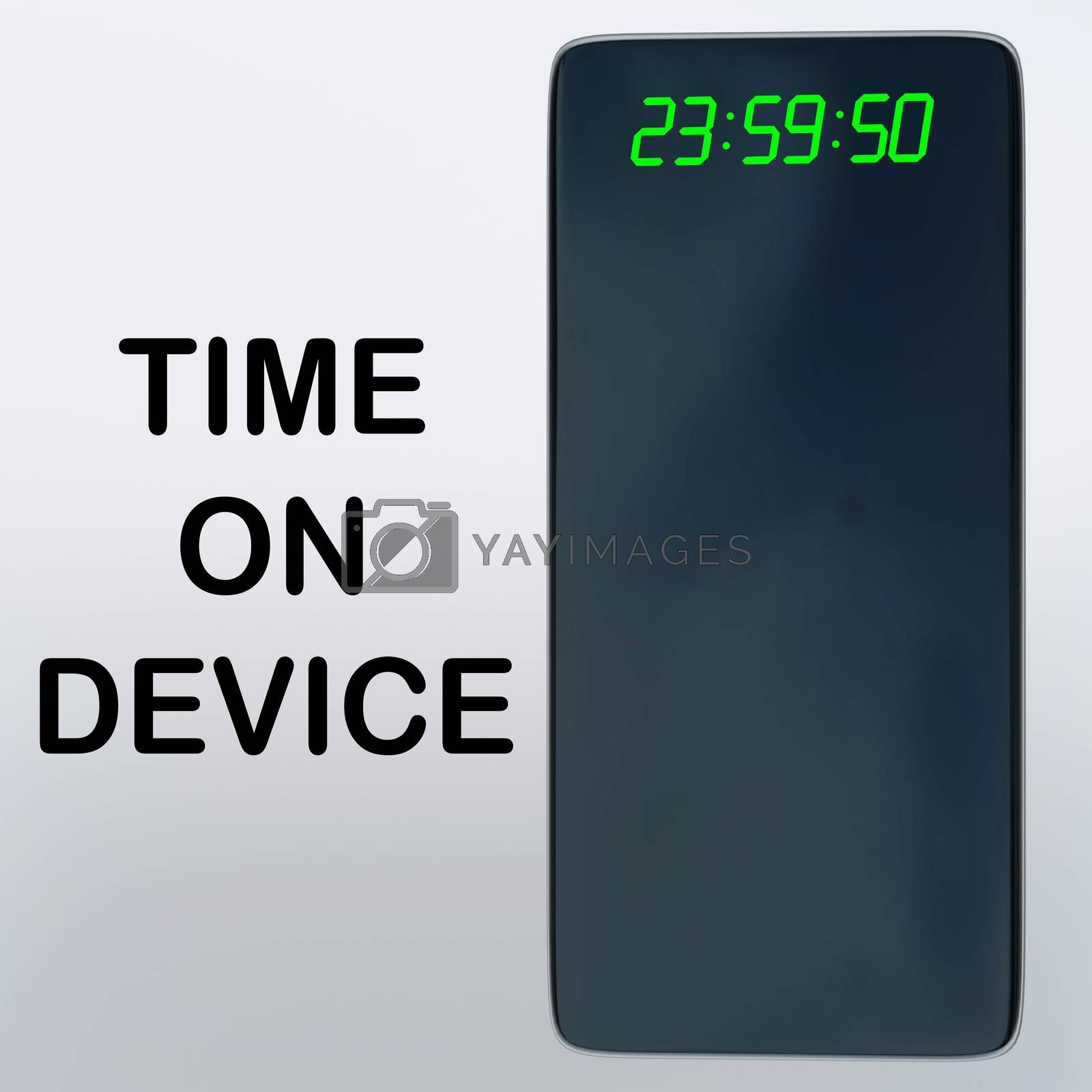 3D illustration of TIME ON DEVICE title beside a smartphone with time display, isolated over gray gradient.