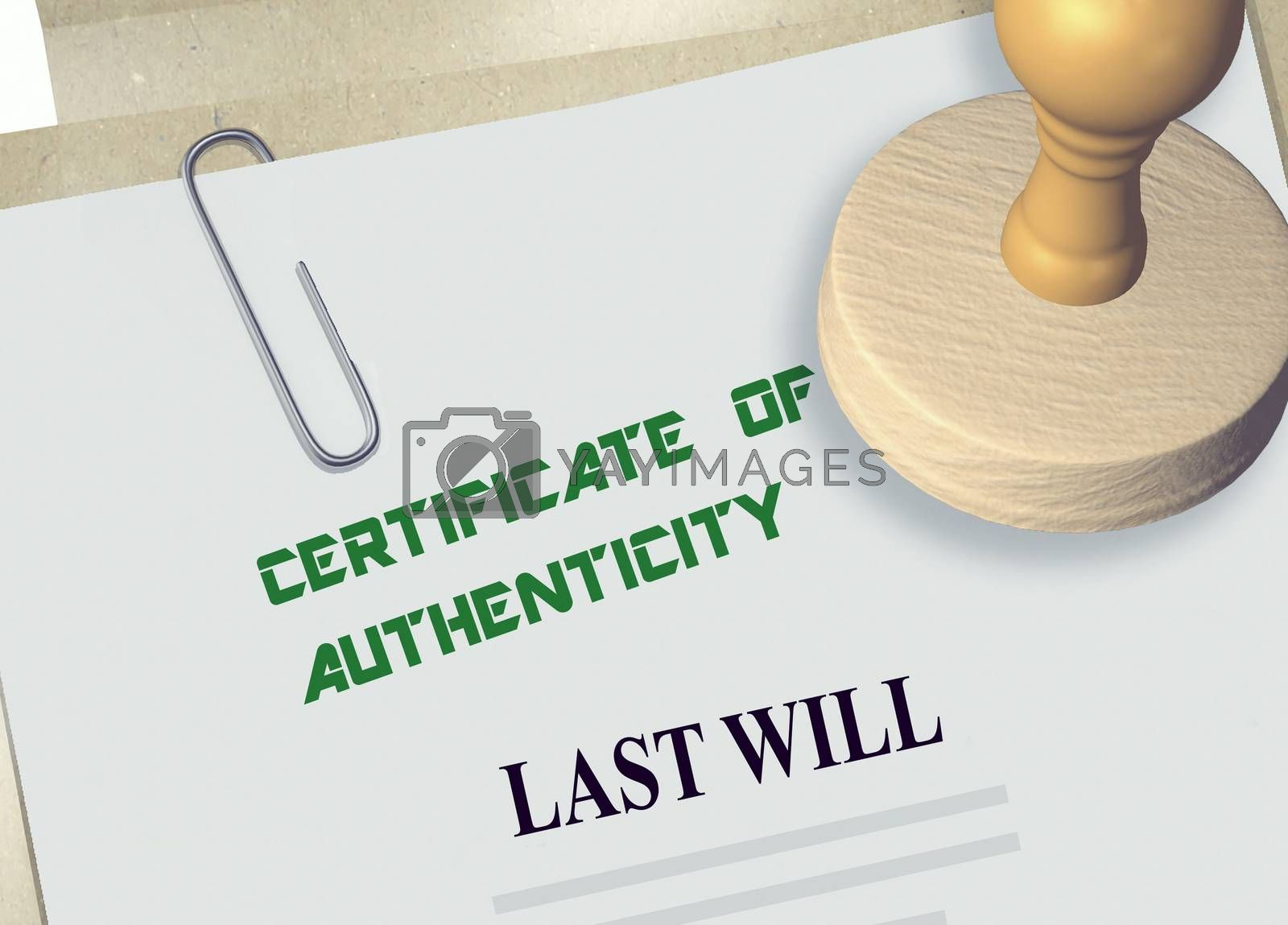 3D illustration of CERTIFICATE OF AUTHENTICITY stamp title on a will