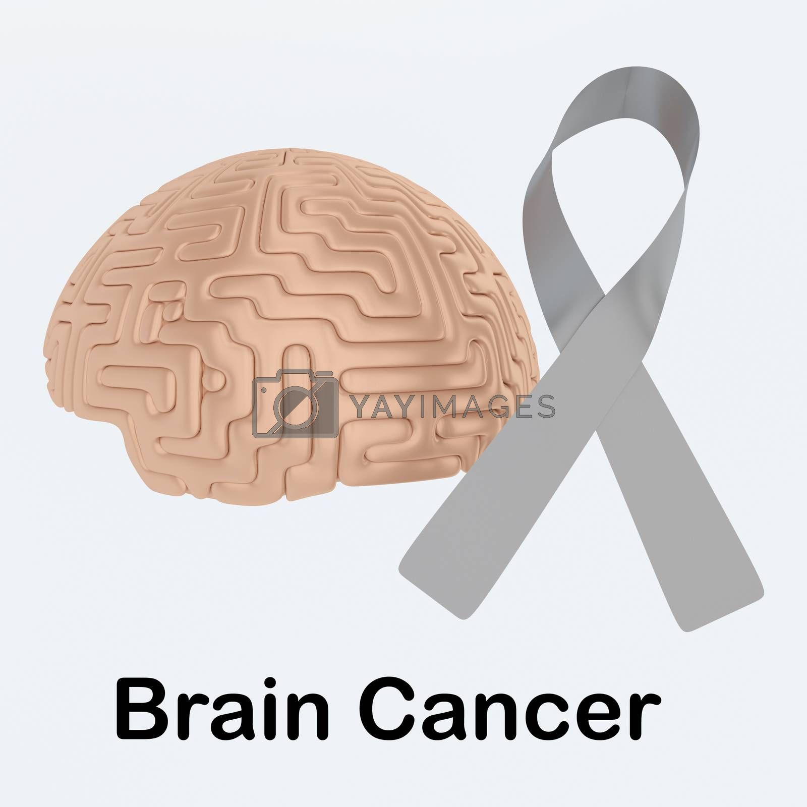 3D illustration BRAIN CANCER script below an awareness ribbon of lung cancer and human brain, isolated over pale blue background.