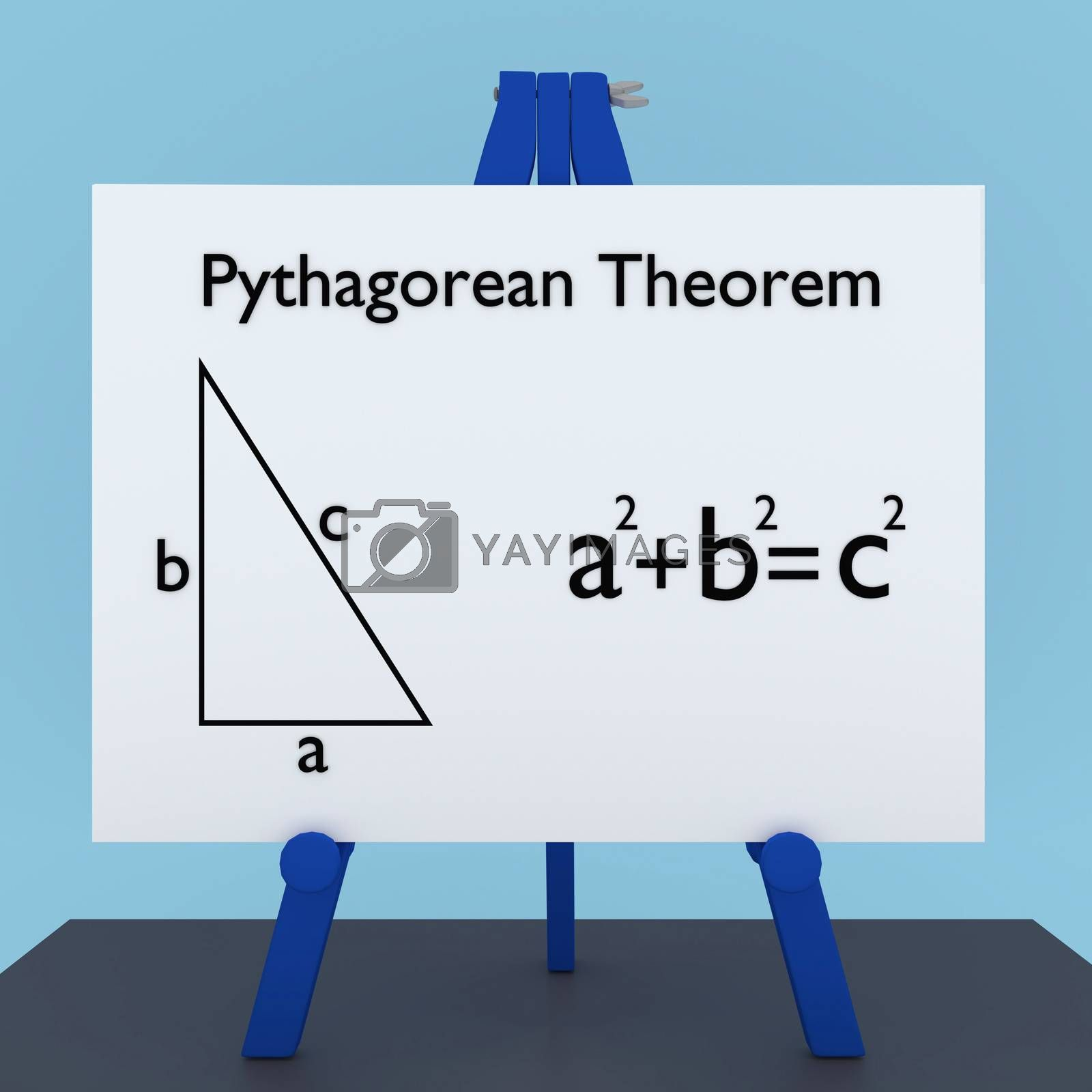 3D illustration of Pythagorean Theorem title on a tripod display board