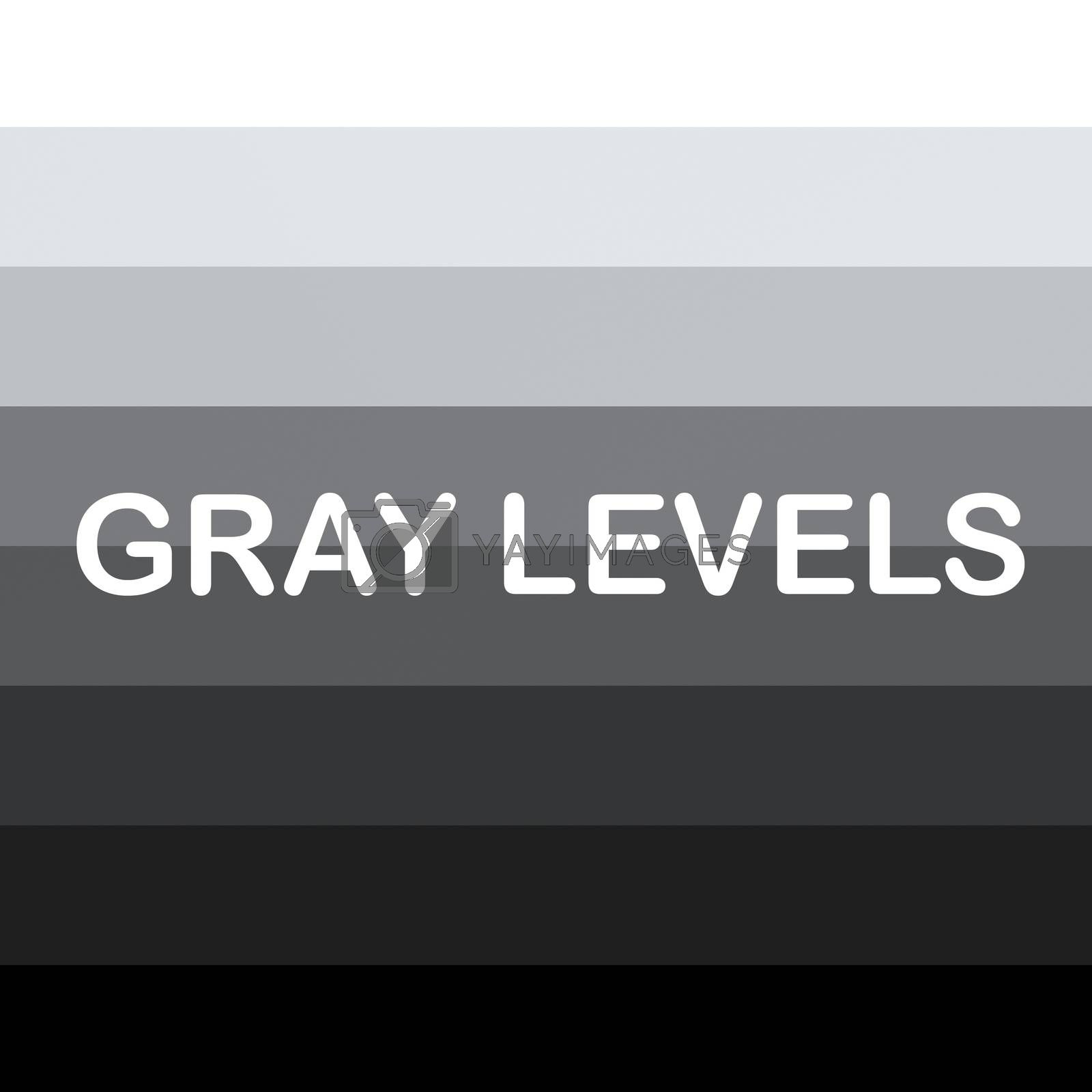 Render illustration of GRAY LEVELS title, over background composed of 8 various strips dislpaying gradualy change from white to black.