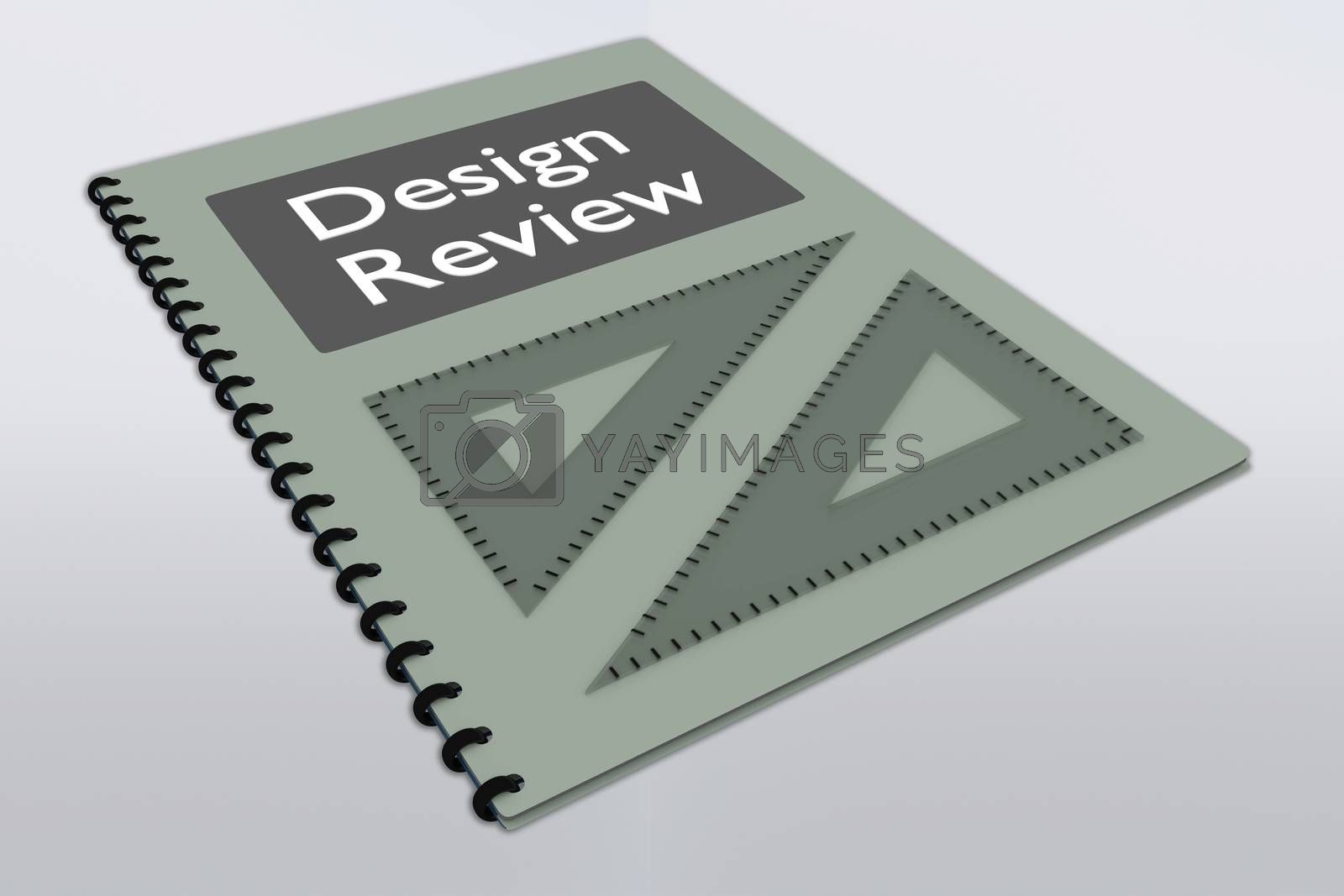 3D illustration of Design Review script on a booklet along with two triangle rulers, isolated over gray gradient.