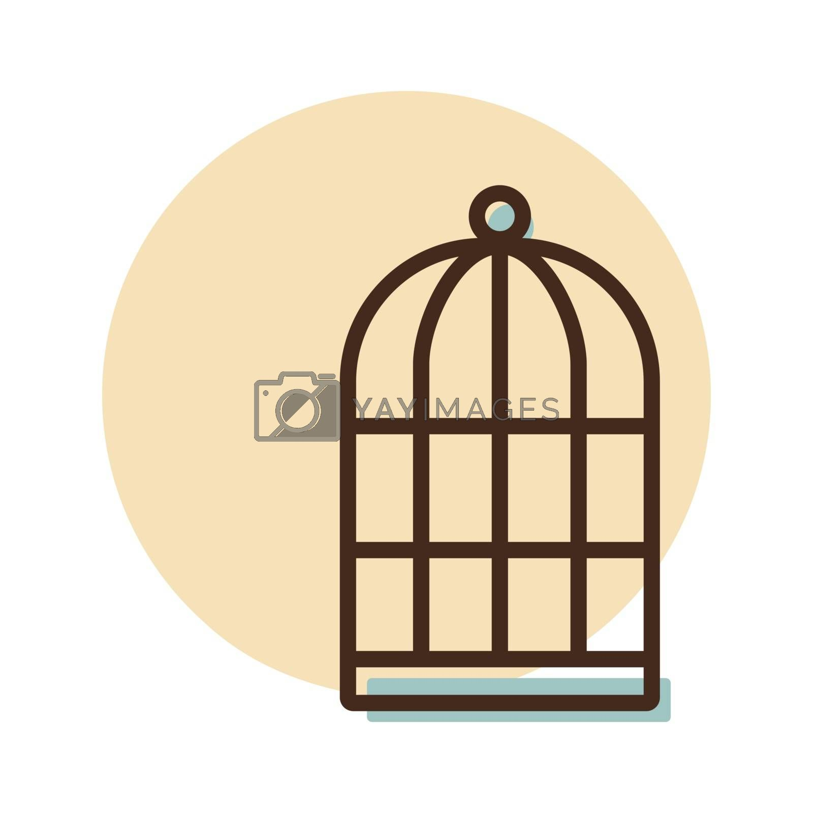 Empty bird cage vector icon. Pet animal sign. Graph symbol for pet and veterinary web site and apps design, logo, app, UI