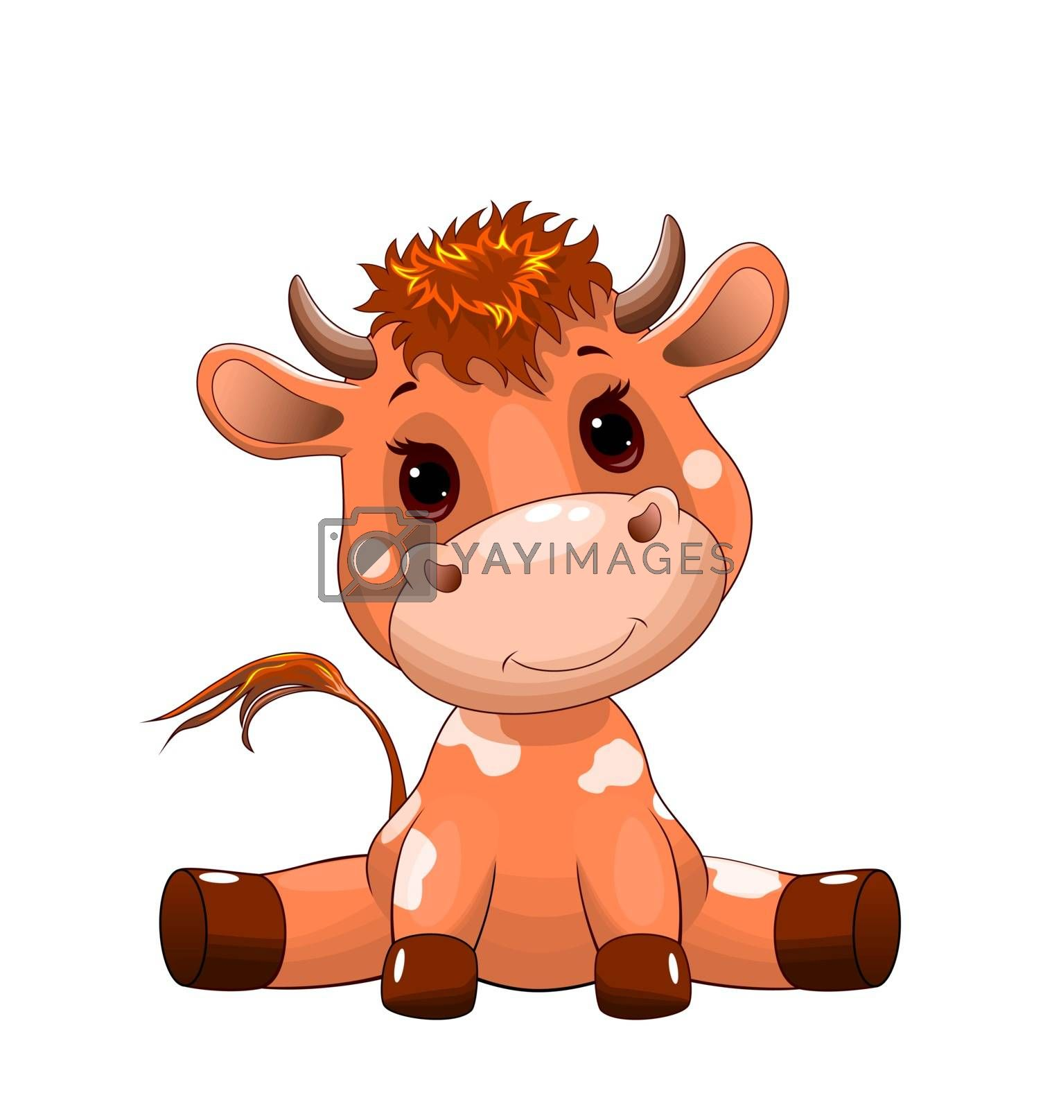 Little sitting calf on a white background. Cute goby baby. Little cow baby.