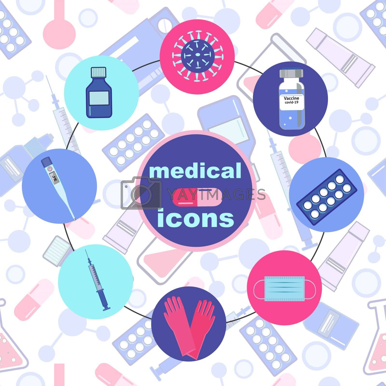 Vector icon set of treatment and healthcare concept. Set of medical icons in circle button style on seamless background.
