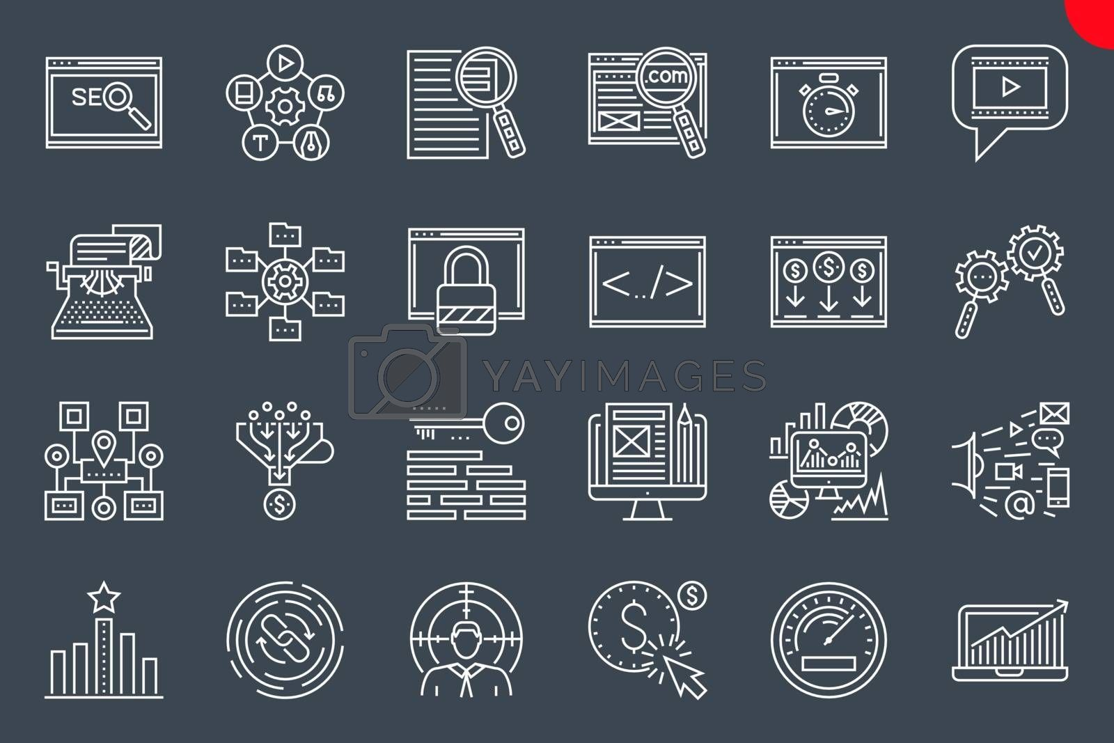 Seo Thin Line Related Icons Set on Black Background. Simple Linear Pictogram Pack Stroke Vector Logo Concept for Web Graphics. Editable Stroke.
