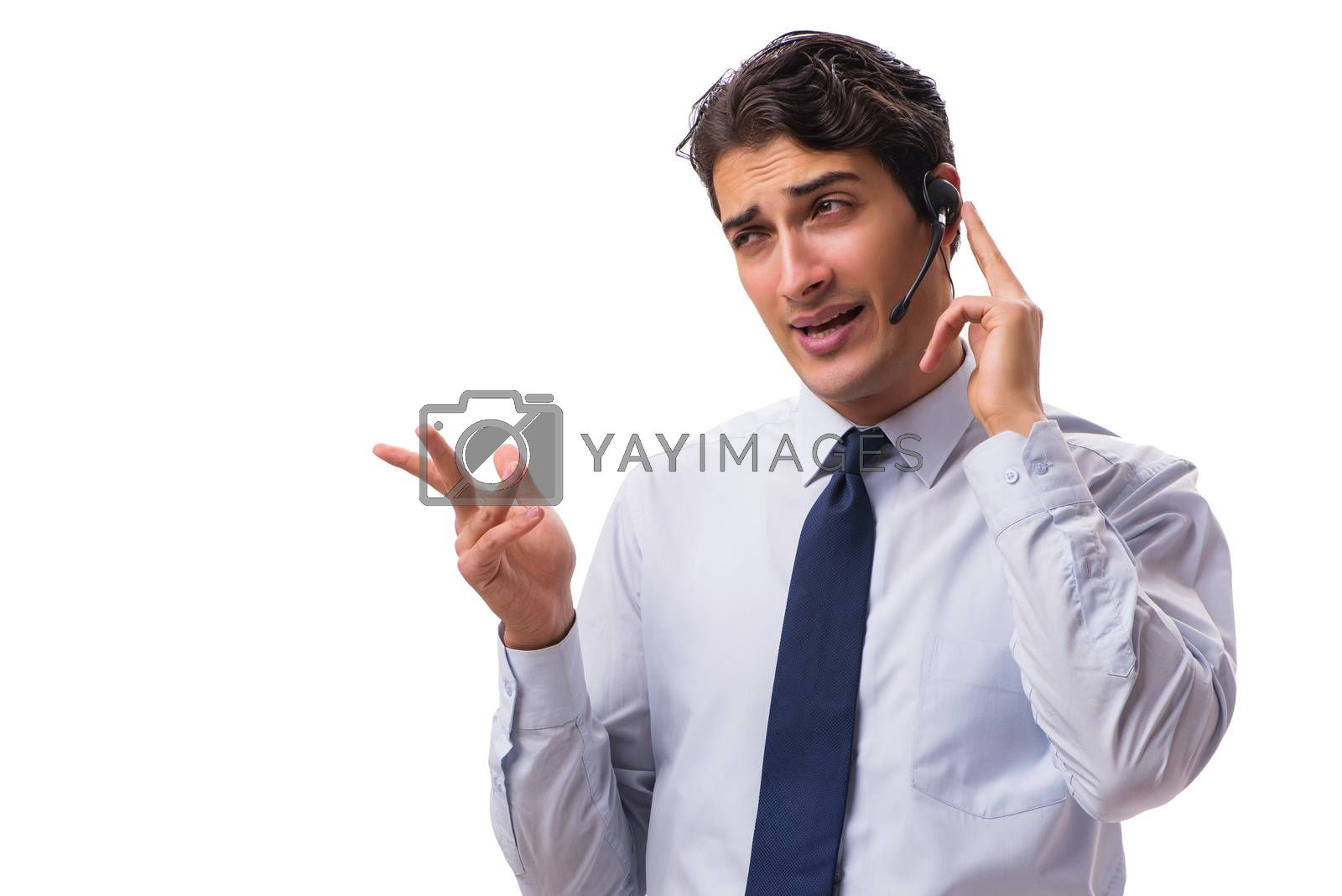 Man with headset isolated on white background