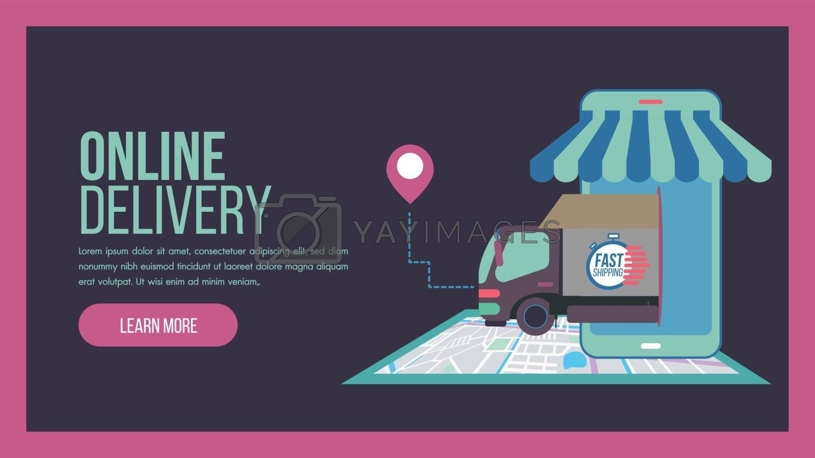 Online delivery service concept landing page with truck by Zeedoherty