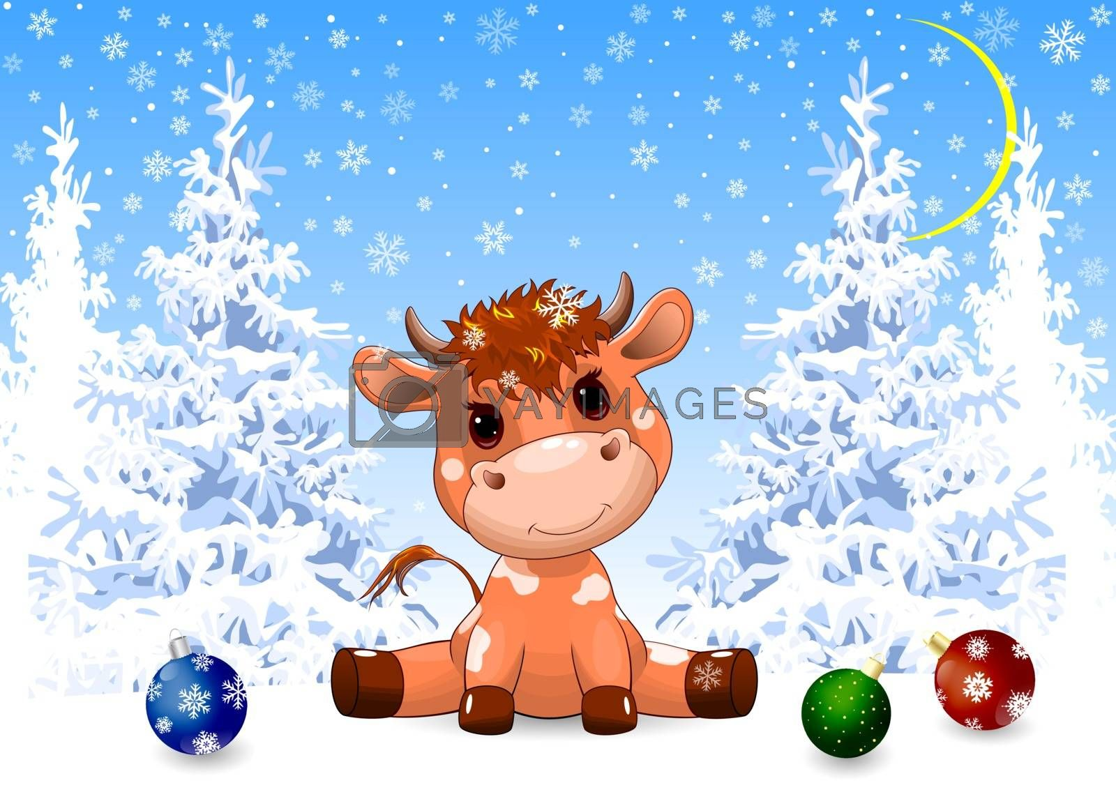 Royalty free image of Little calf in the winter forest by liolle