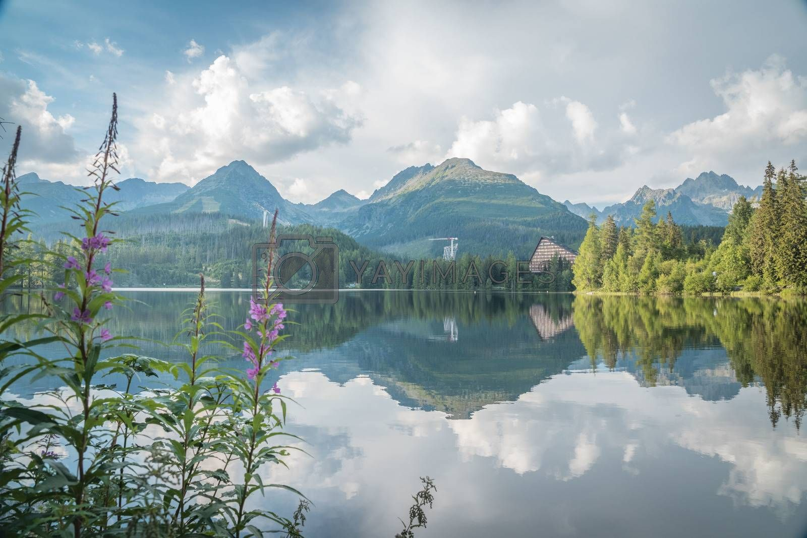 Royalty free image of Mountain lake in National Park High Tatras. Strbske pleso, Slovakia, Europe. Late summer evening at lakeside. by petrsvoboda91