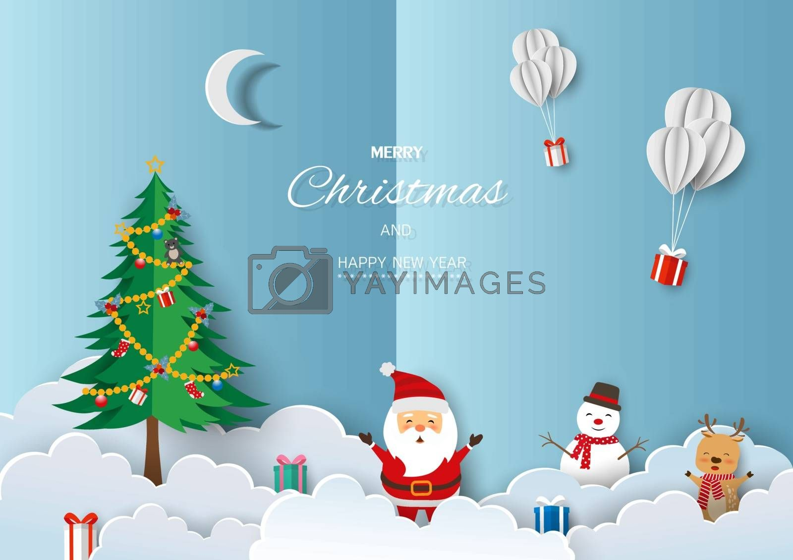 Merry Christmas and Happy new year greeting card by PIMPAKA