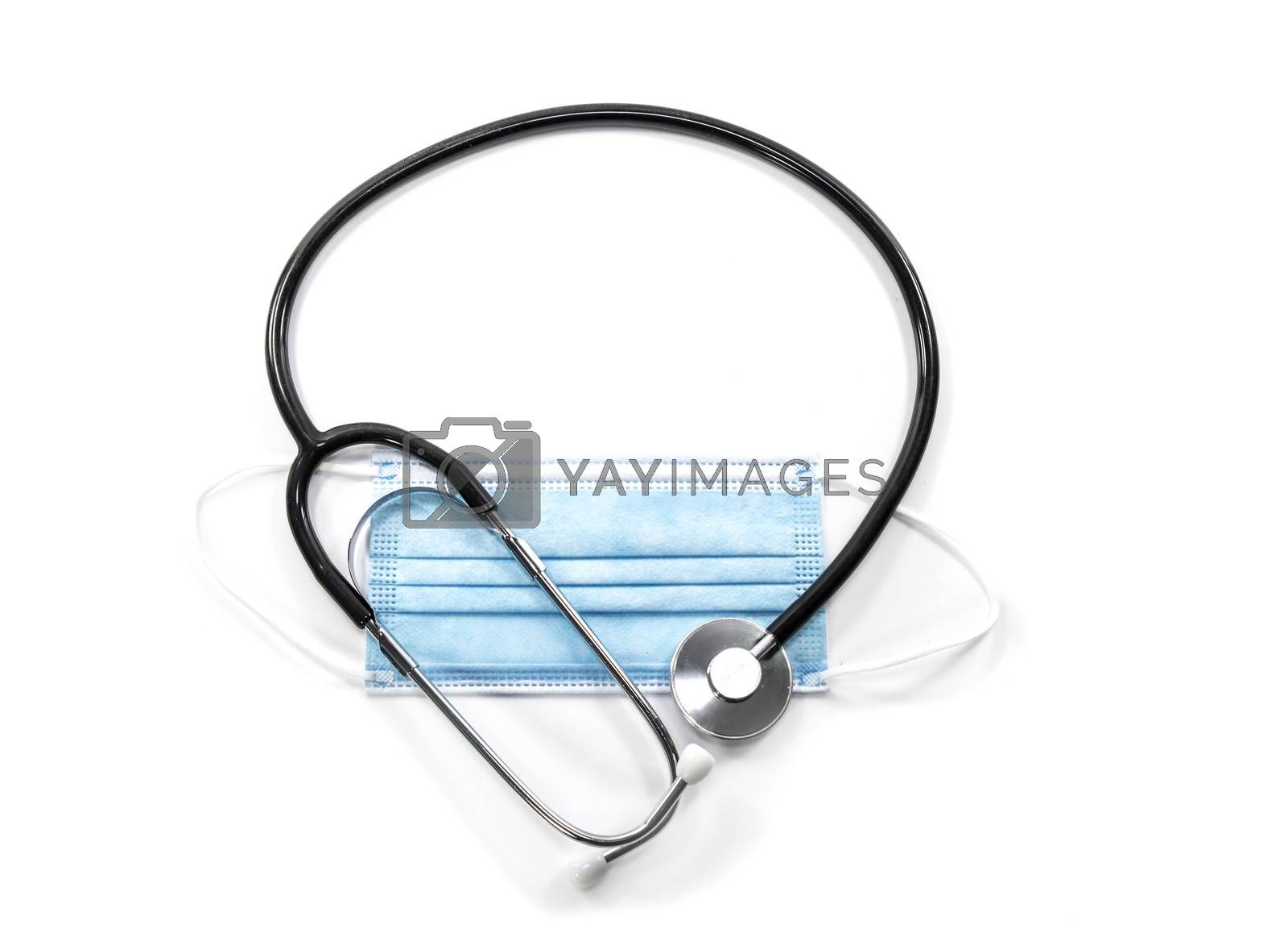 face mask with stethoscope isolated on white background