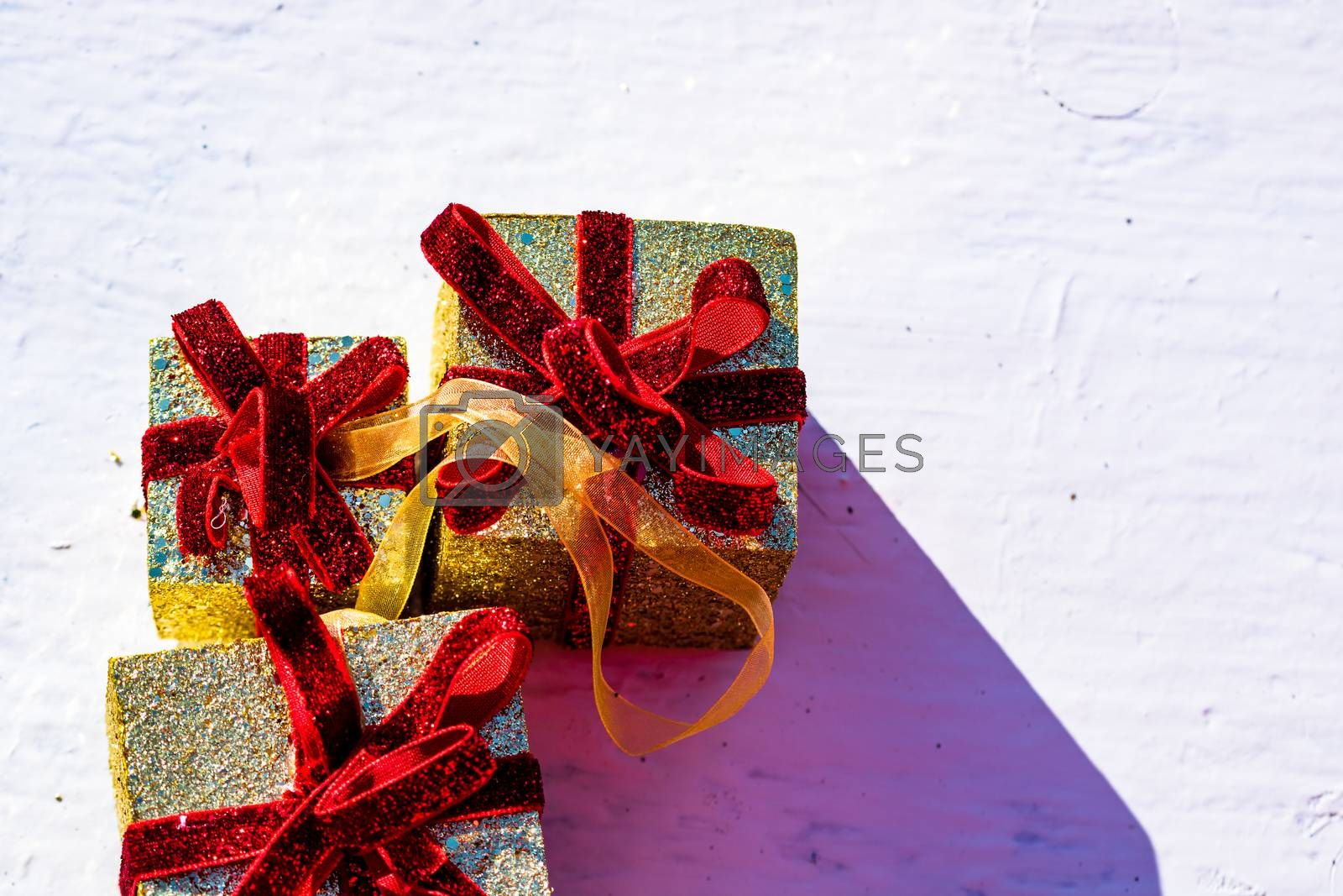 Glittery Christmas gifts. Christmas present boxex decorations isolated.