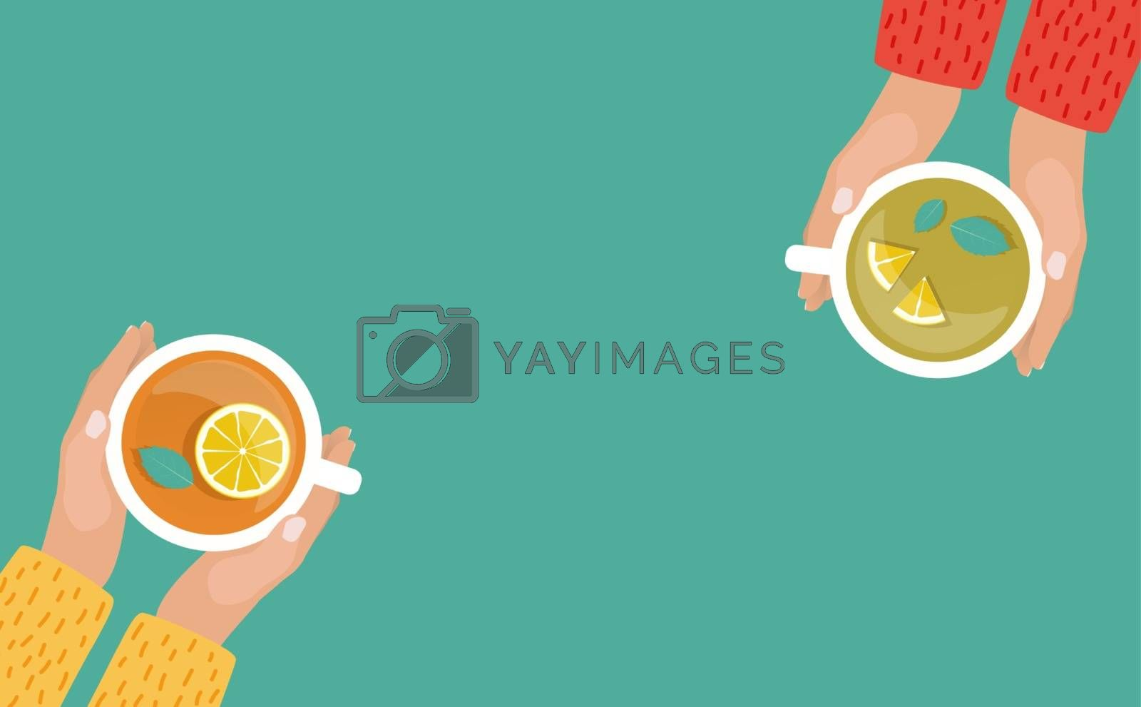 Hand with Tea Cup Flat Design Vector Illustration EPS10