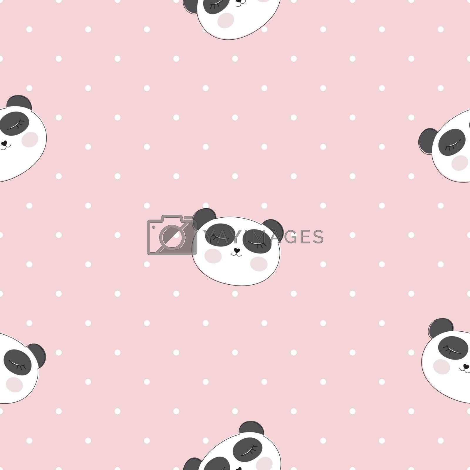 Little cute panda seamless pattern for card and shirt design. Vector Illustration EPS10