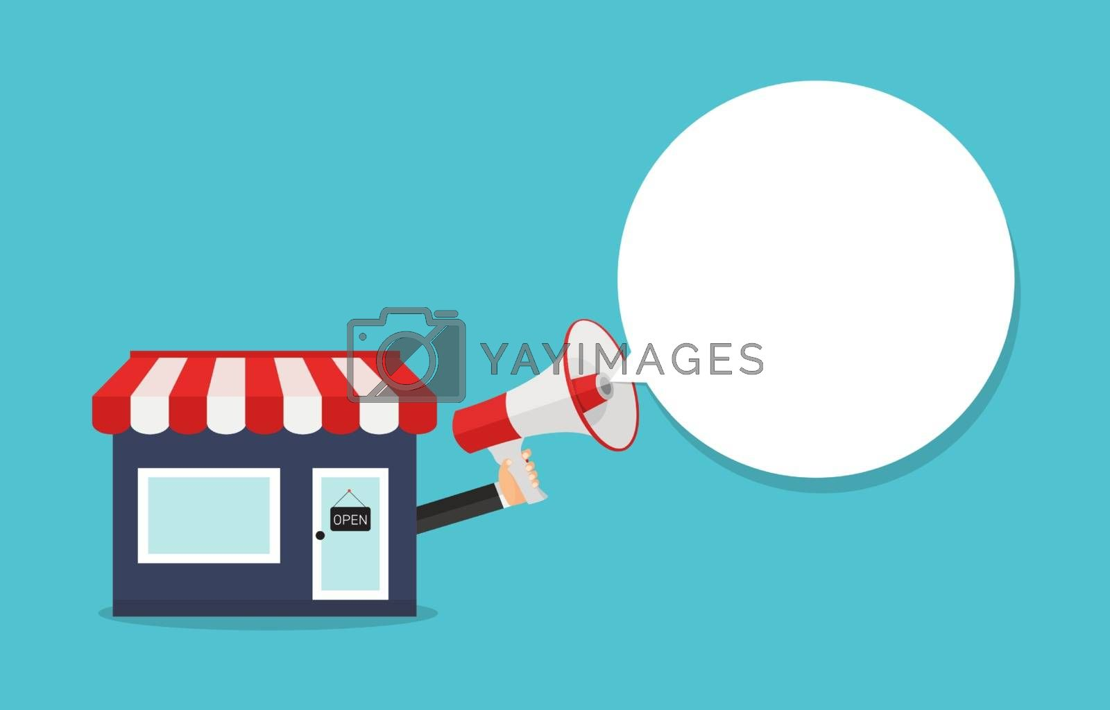 Small business mouthpiece. Shop and hand with megaphone concept. Vector Illustration EPS10