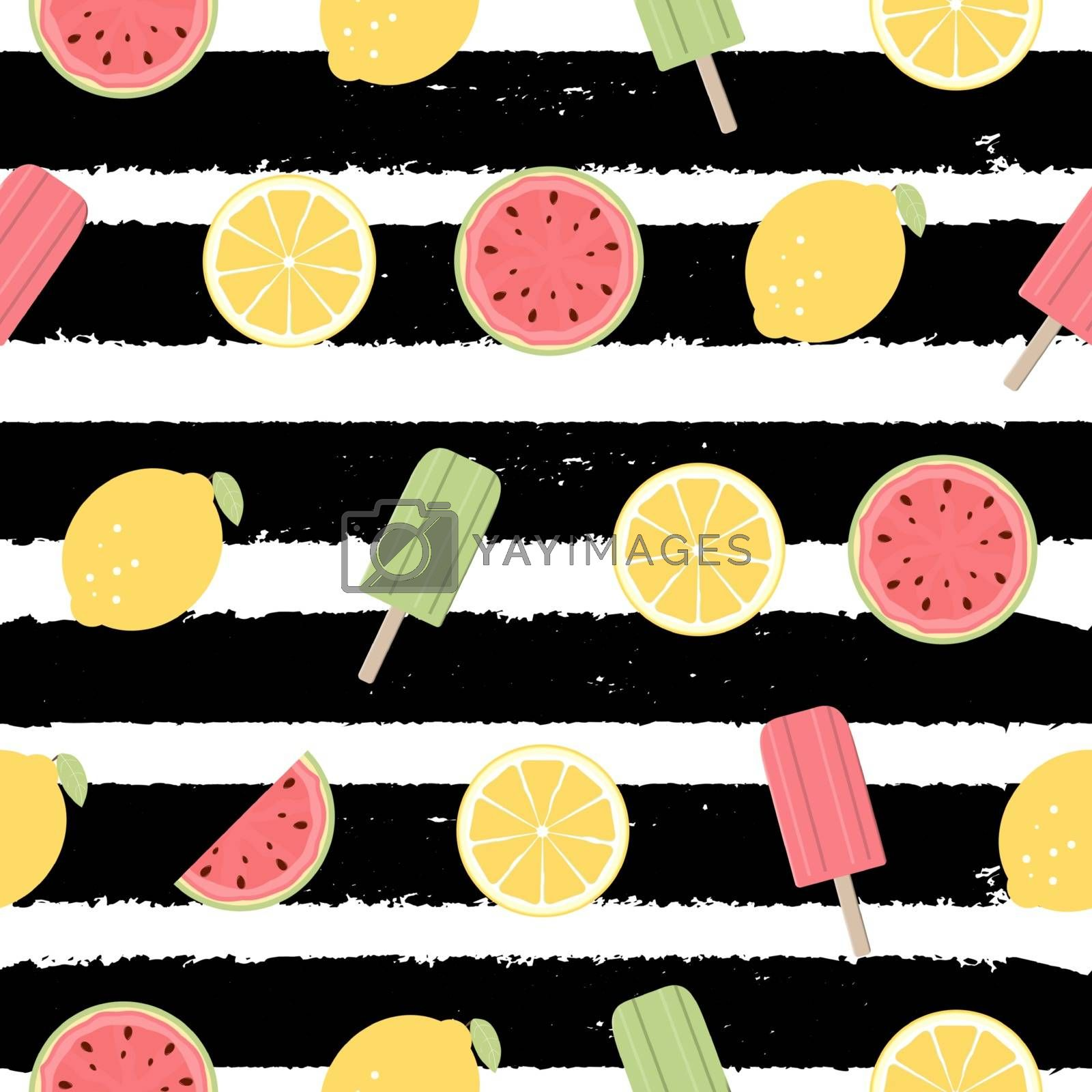Seamless Pattern with Lemon, Watermelon Fruits and Ice Cream. Vector Illustration EPS10