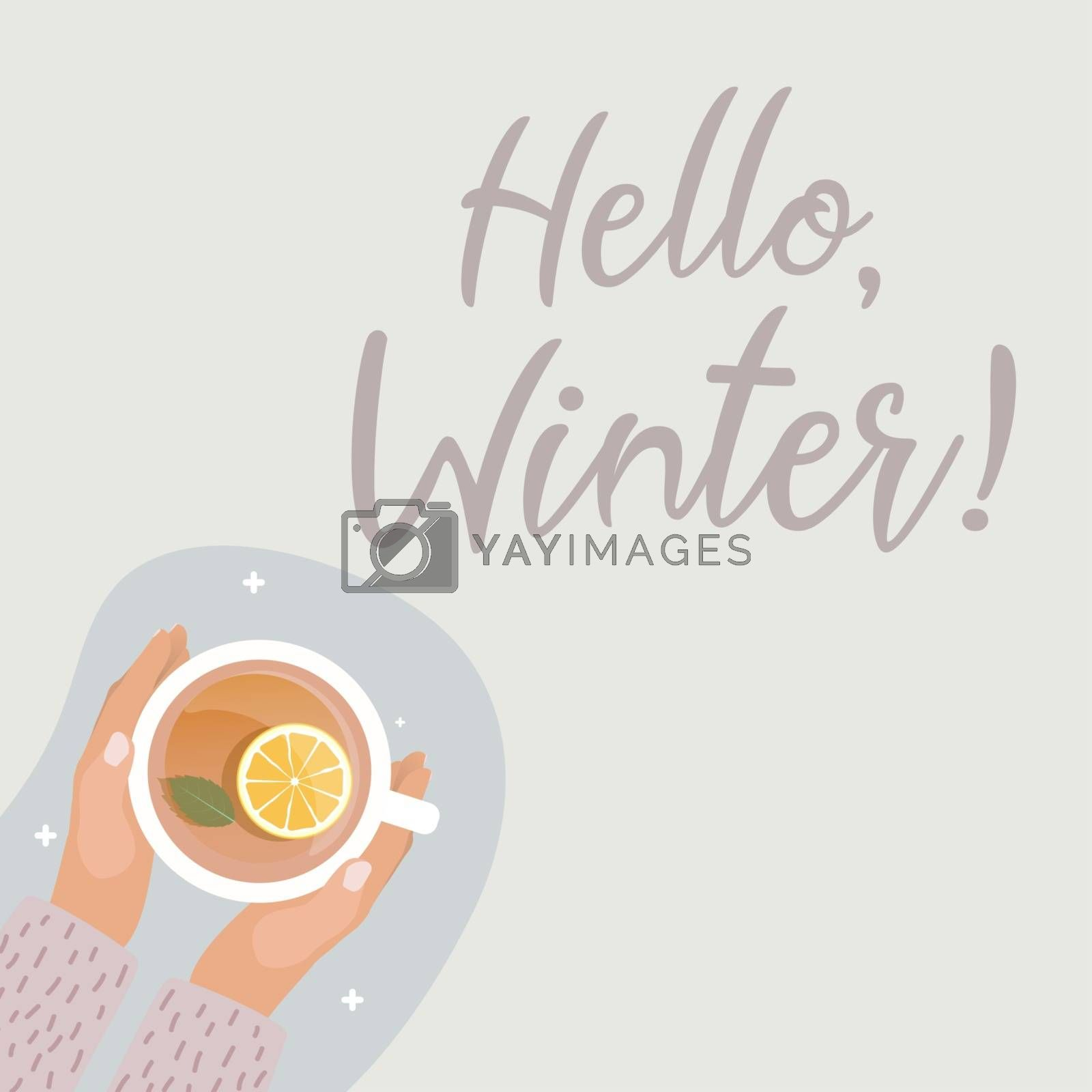 Hallo Winter Concept.Hand with Hot Tea Cup Flat Design Vector Illustration EPS10