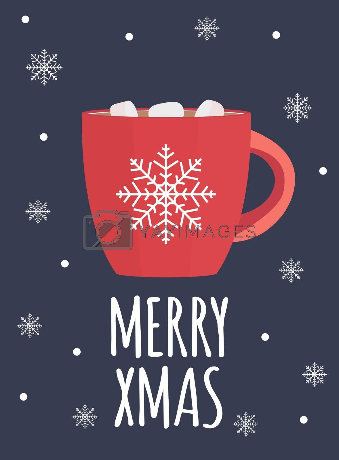 Merry Xmas background with Hot chocolate. Vector Illustration EPS10