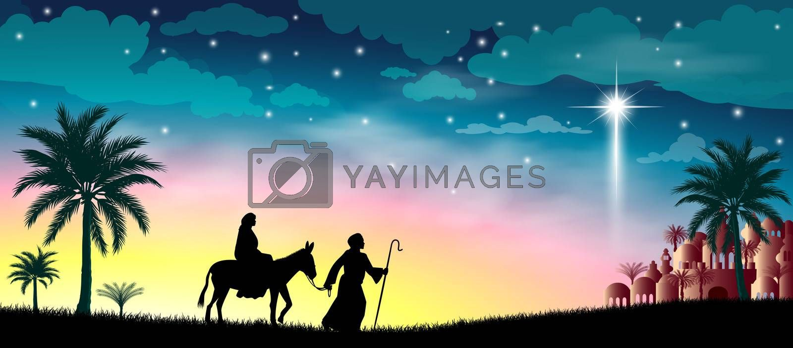 Royalty free image of Journey of the Virgin Mary and Joseph by liolle