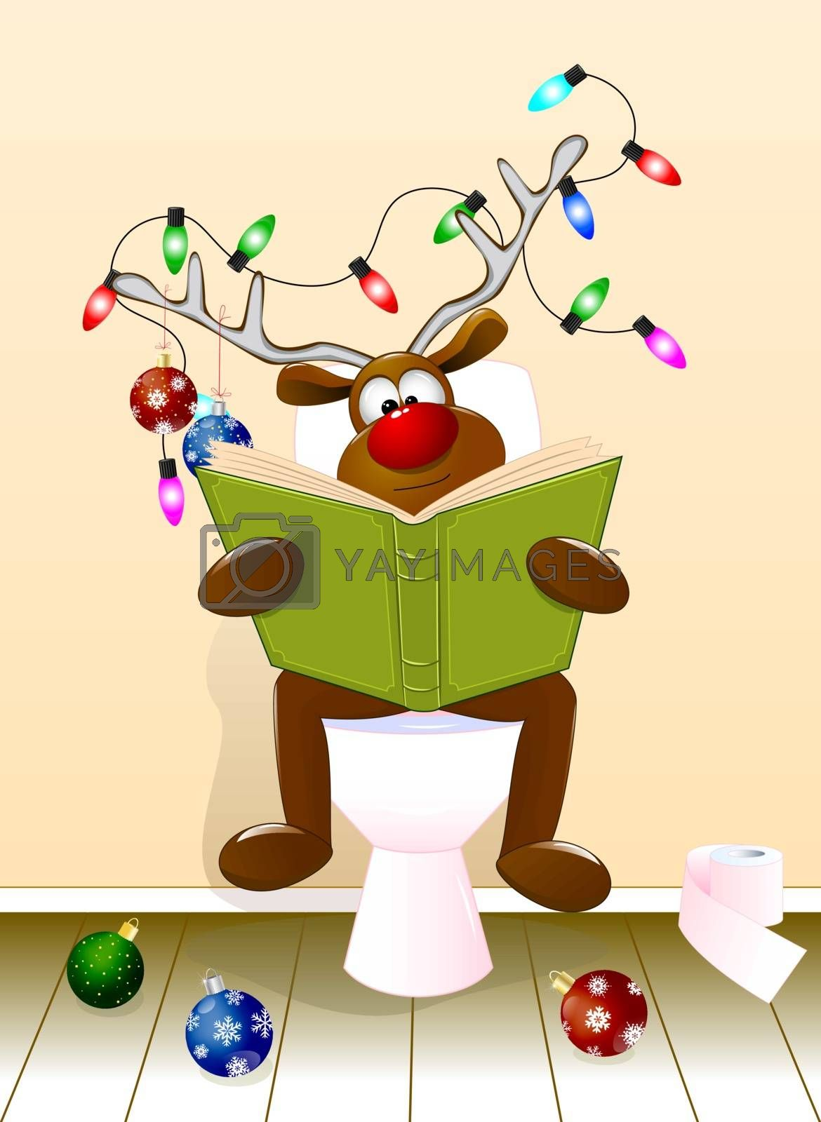 Deer reading a book in the toilet room by liolle
