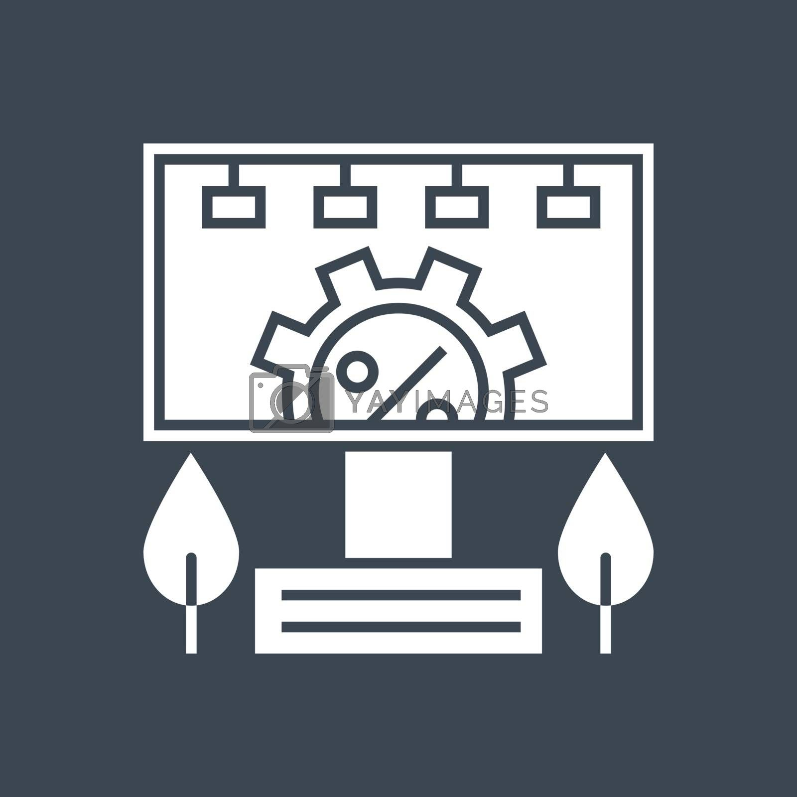 Adverting Service Related Vector Glyph Icon. Isolated on Black Background. Vector Illustration.
