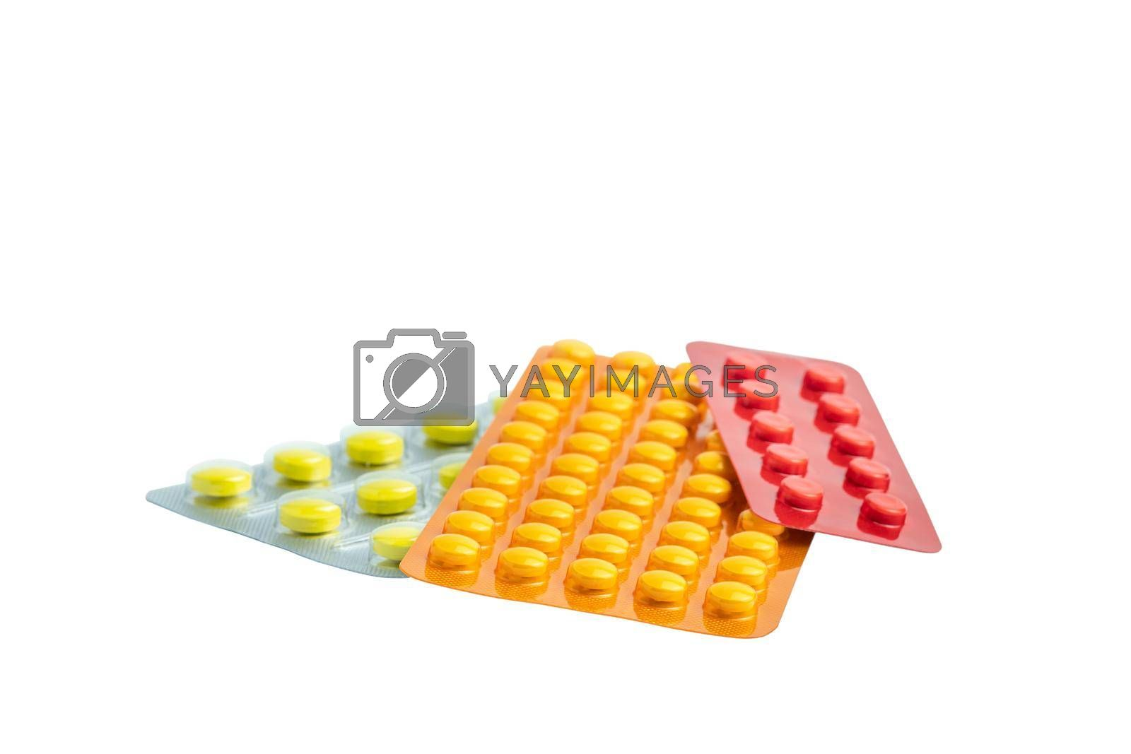 Group of medicines isolated on white background without shadow. Medicinal anti-inflammatory drugs in multi-colored packaging. Pharmacy pharmacological preparations.